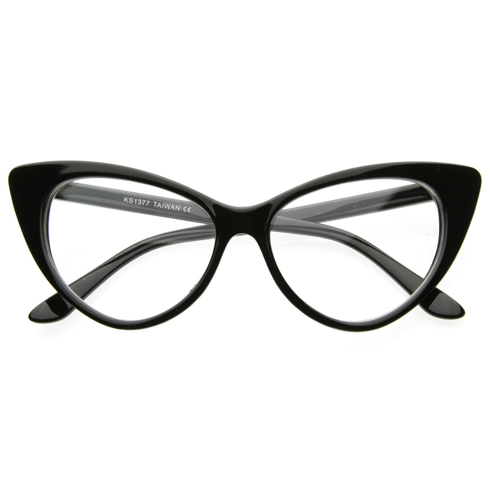 180b5e11c12c ... Vintage Mod Fashion Cat Eye Clear Lens Glasses 8435 · Black