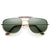 Mens Polarized Metal Aviator Sunglasses Cross Bar Nickel Finish Gold New 8677