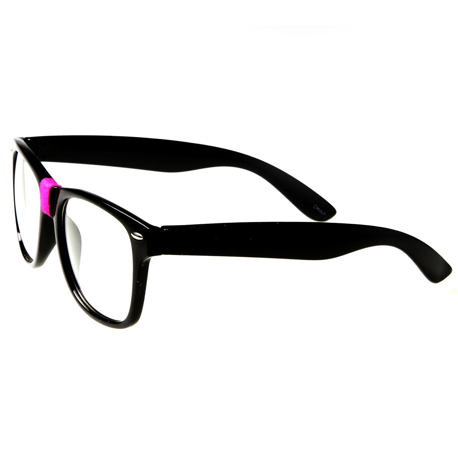 fa314ff0ed Black Pink · Retro Nerd Geek Color Tape Clear Lens Horned Rim Glasses 8624