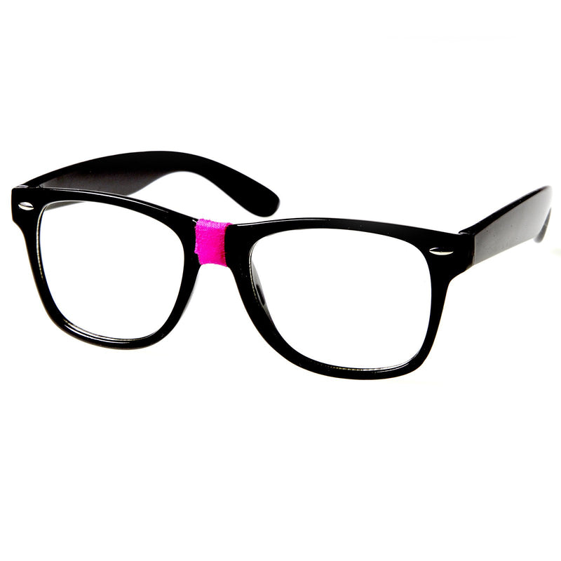 Retro Nerd Geek Color Tape Clear Lens Horned Rim Glasses 8624