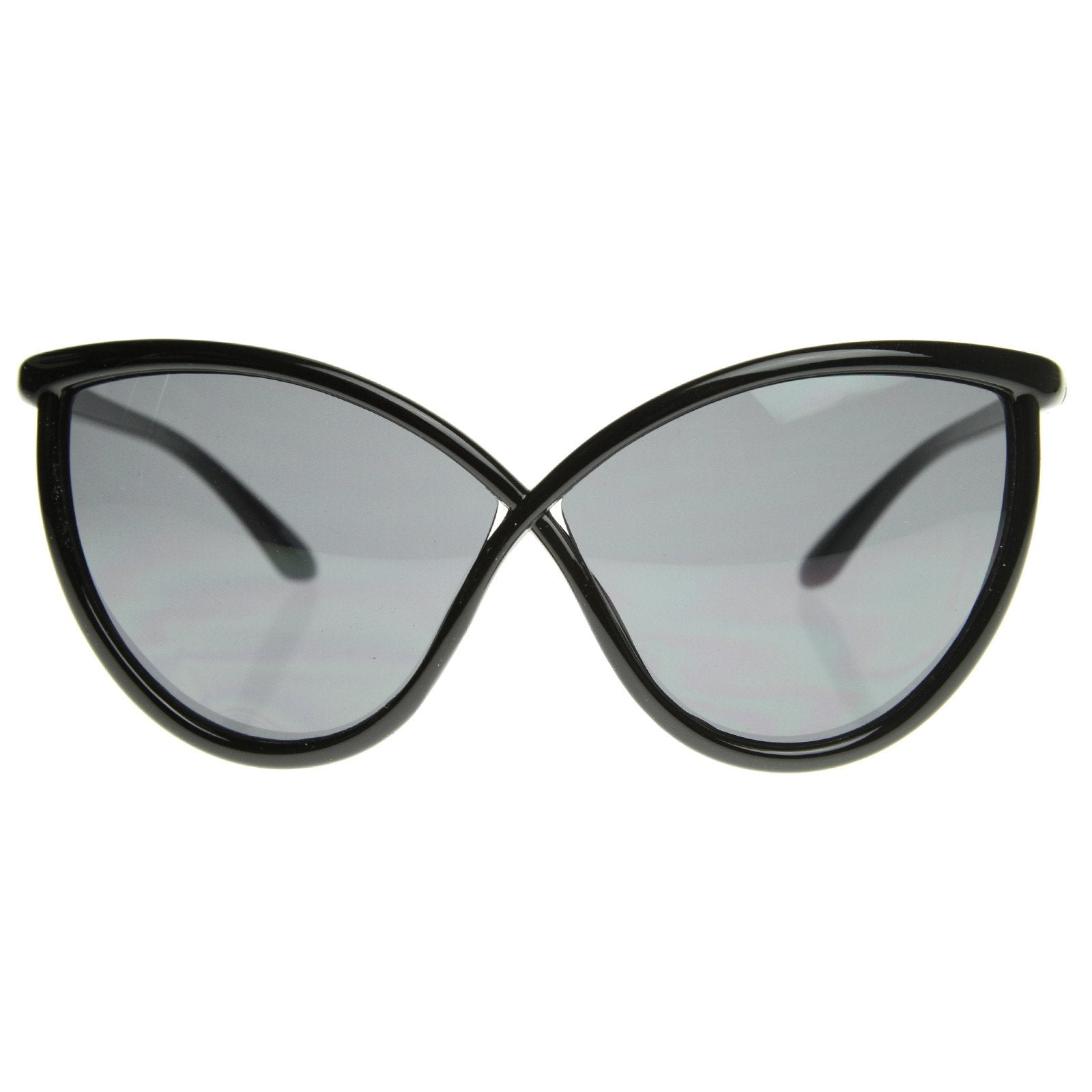 Unique Super Oversize Cat Eye Sunglasses Detailed Temple 8523