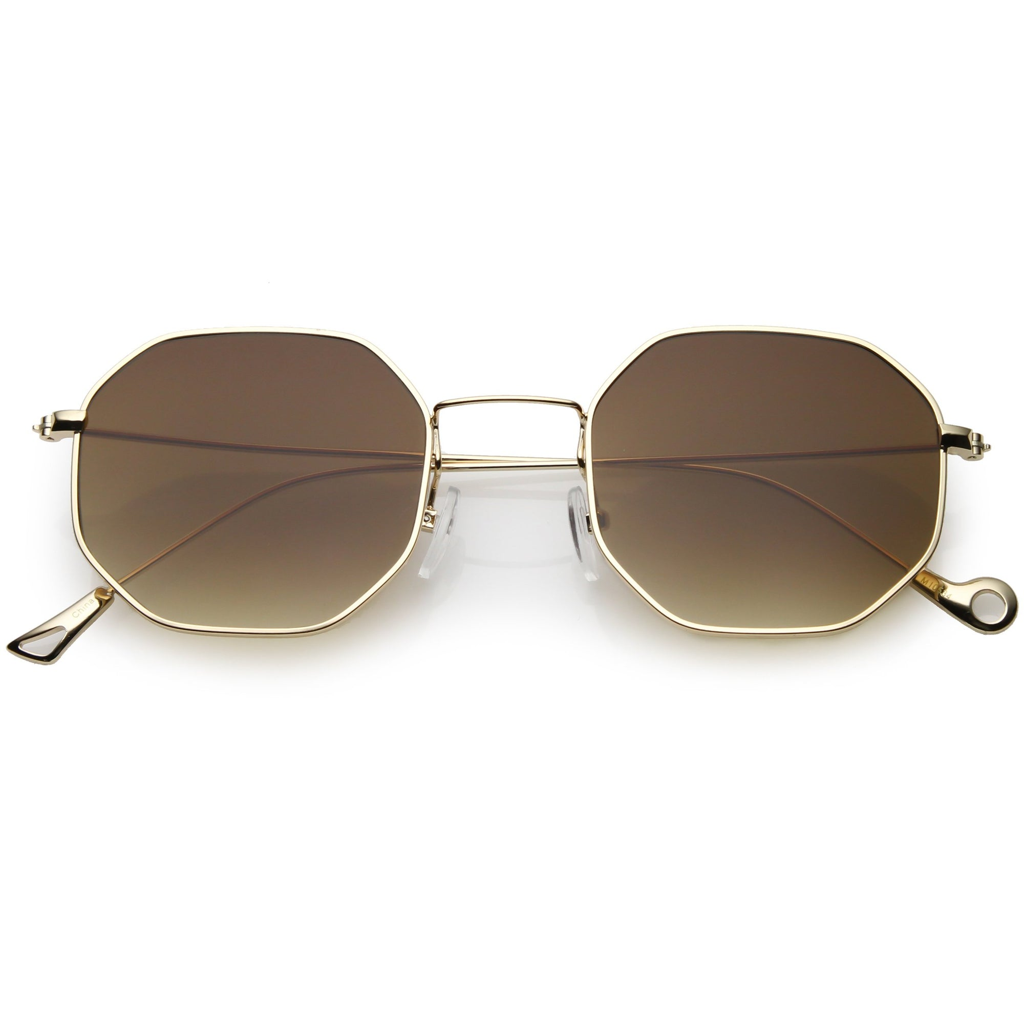 eb69f691046 Retro Modern Geometric Octagon Slim Metal Sunglasses - zeroUV