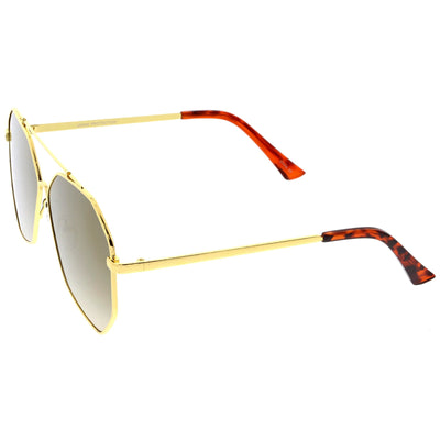 Oversize Geometric Mirrored Flat Lens Aviator Sunglasses C217