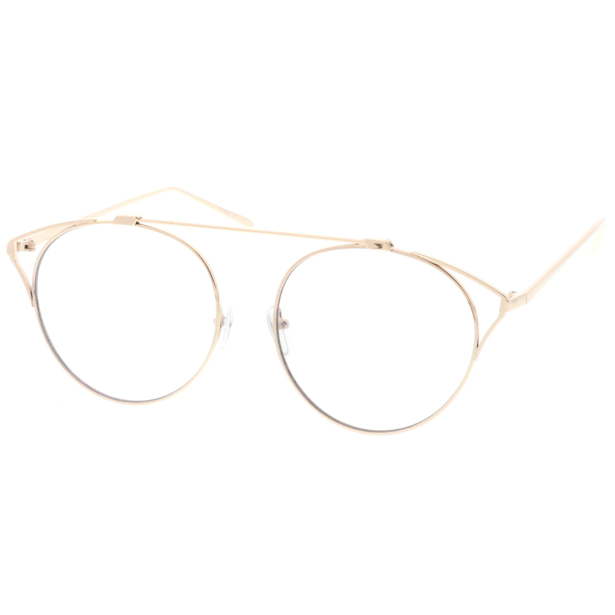 Mens or Women VINTAGE RETRO SHIELD Style Clear Lens EYE GLASSES Gold Metal Frame