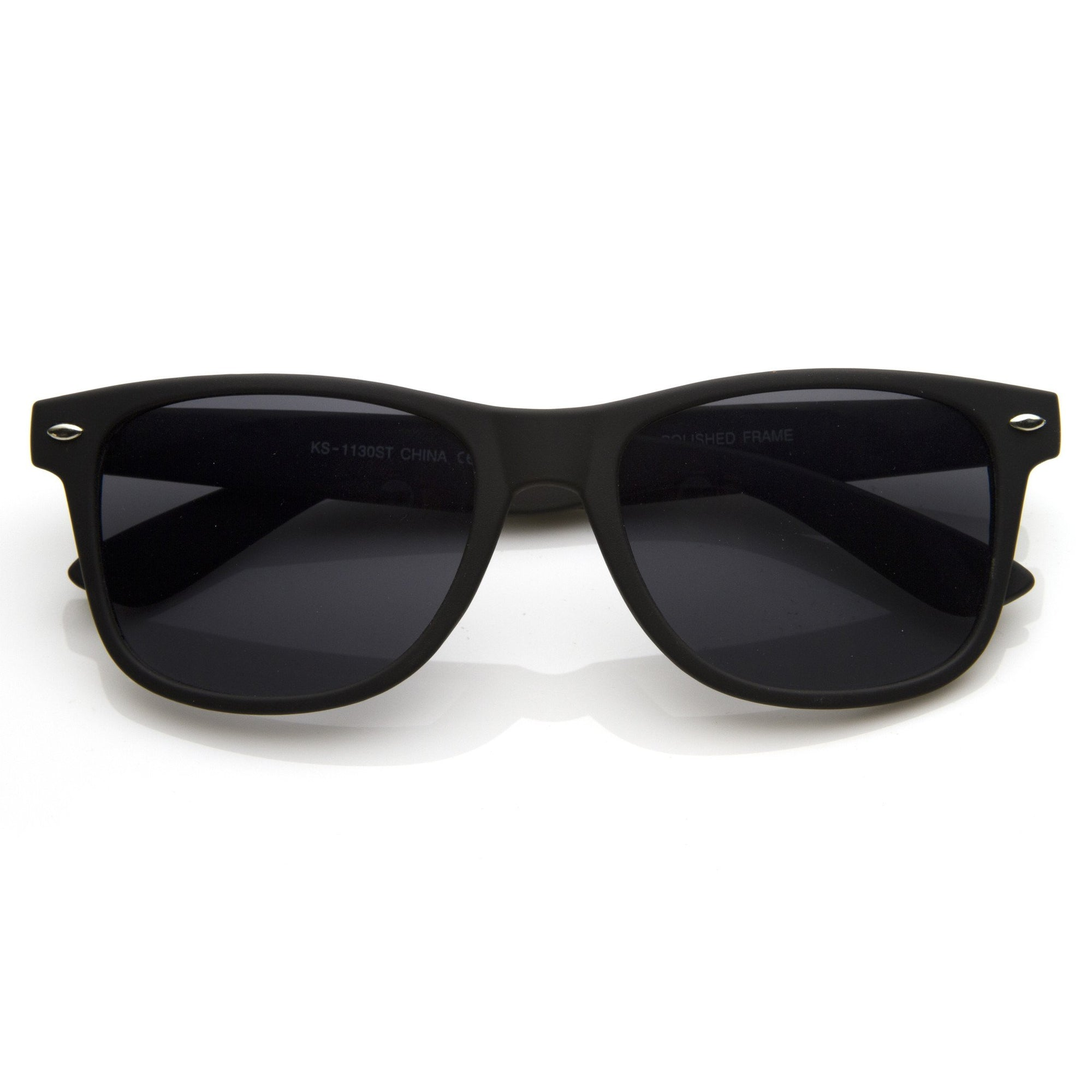 a98af9a571 Retro Matte Flat Black Horned Rim Sunglasses 8698