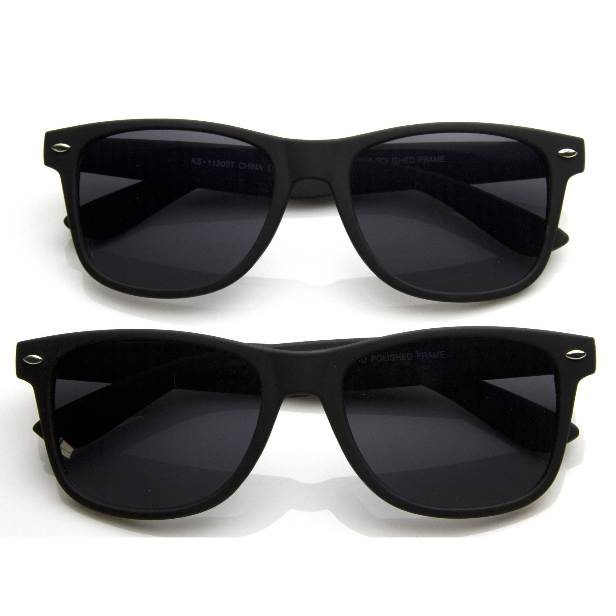 Retro Matte Flat Black Horned Rim Sunglasses 8698 [2 Pack]