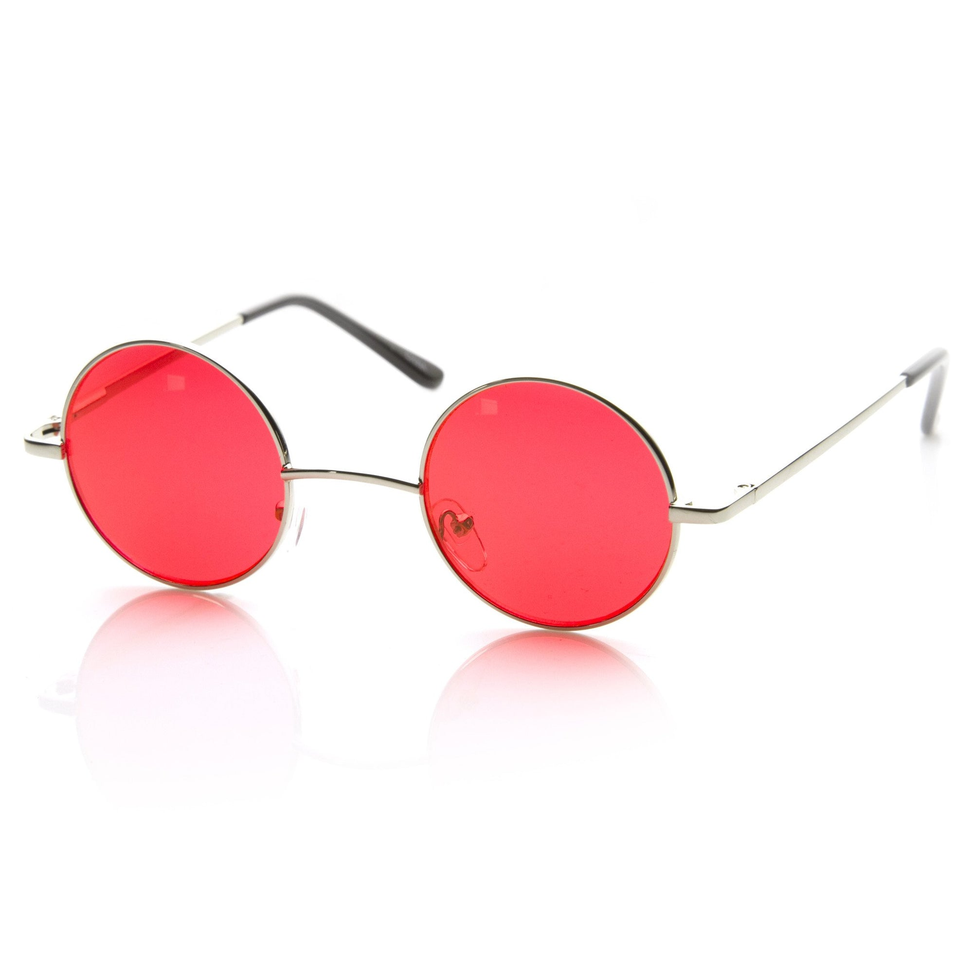 Small Color Lens Sunglasses Lennon Vintage Round Metal 8702 Inspired Circle A54L3Rj