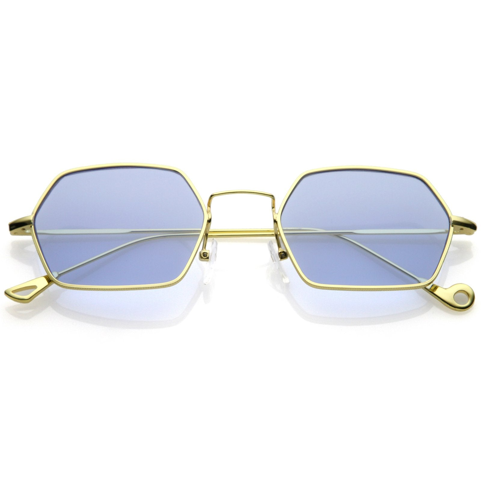 6618c02bde823 Retro Small Hexagon Colored Flat Lens Metal Frame Sunglasses - zeroUV