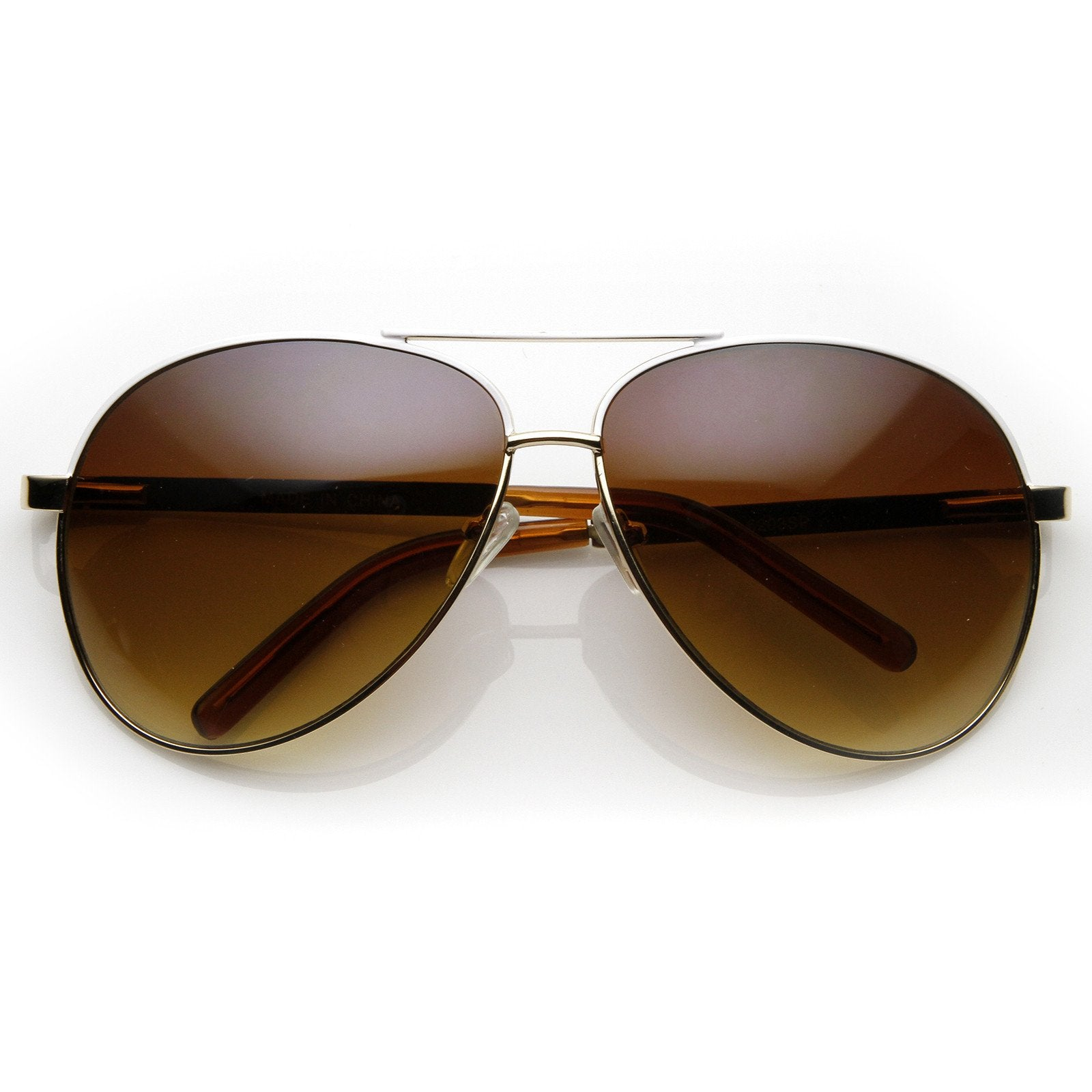 d357b970e148c Gold. Designer Inspired Large Metal Aviator Sunglasses 1508