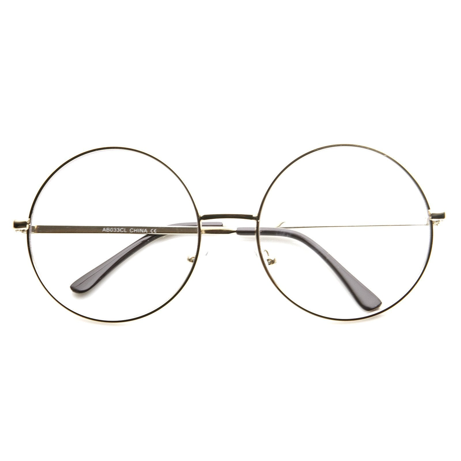 3d7bfdbda29 1920 s Vintage Era Large Round Metal Clear Lens Glasses 8714