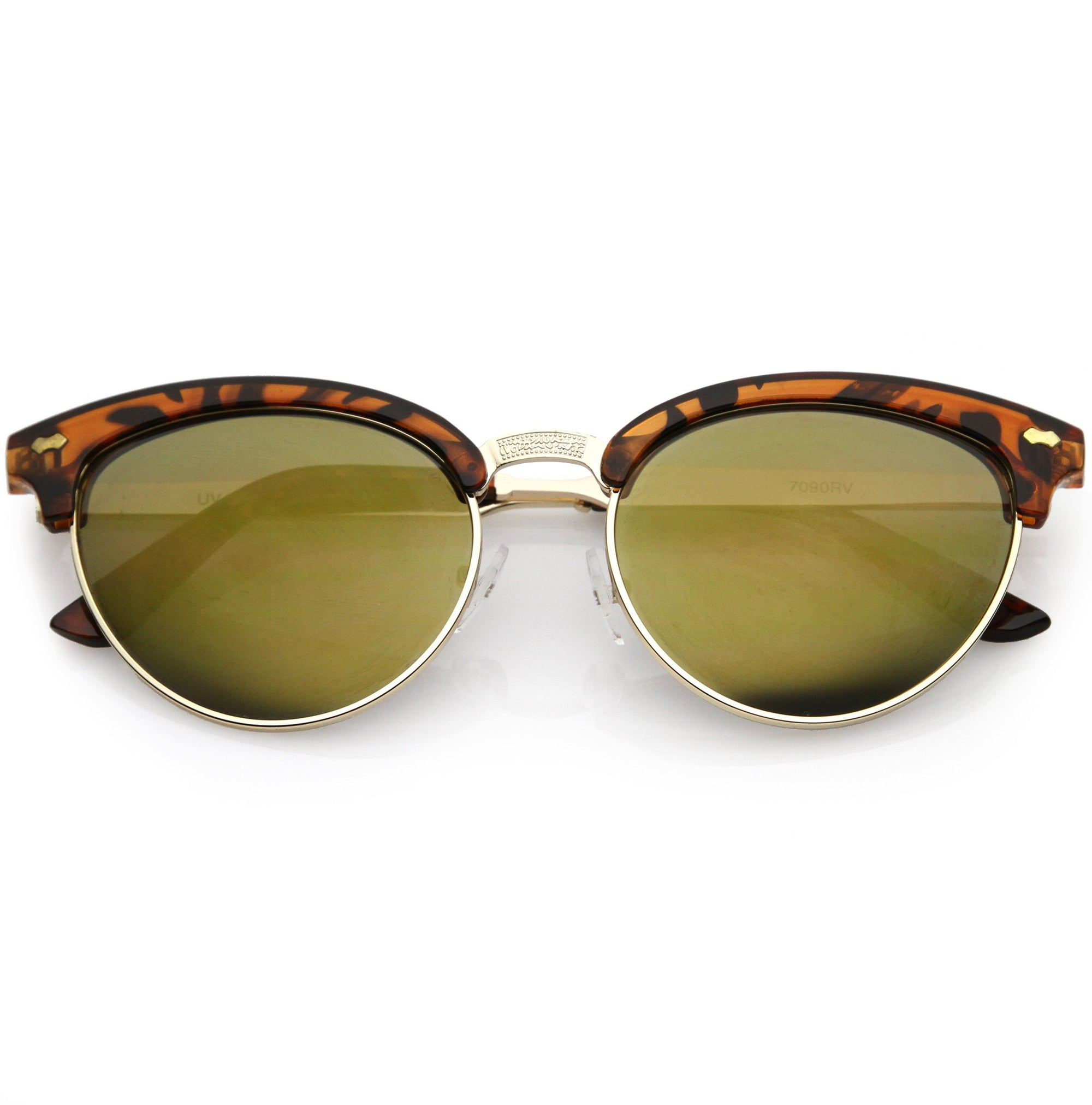 72b547ba30 Women s Retro Half Frame Horned Rim Mirrored Lens Sunglasses - zeroUV