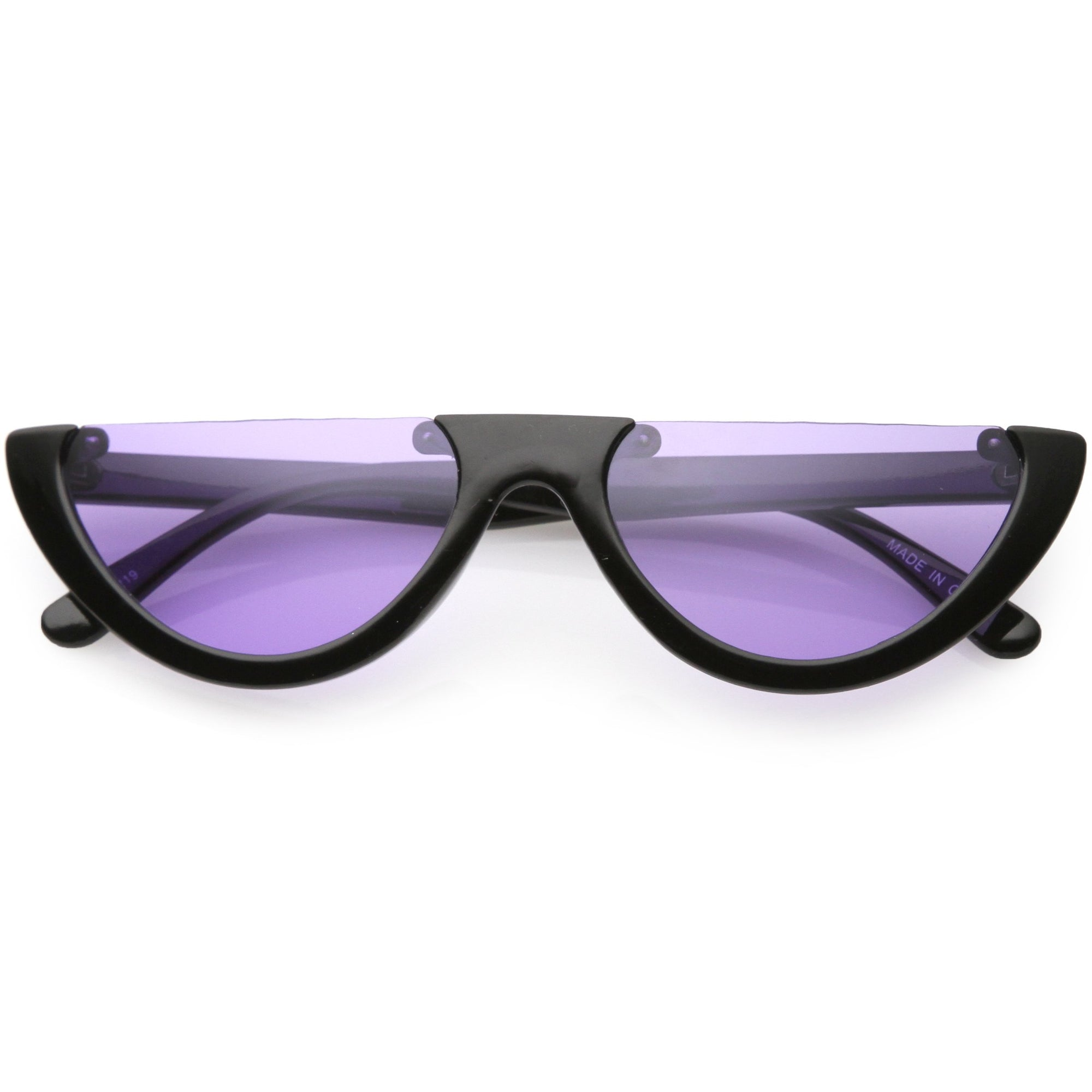 79af07e142 ... Women s Retro Color Tone Half Frame Flat Cut Sunglasses C685 · Black  Purple