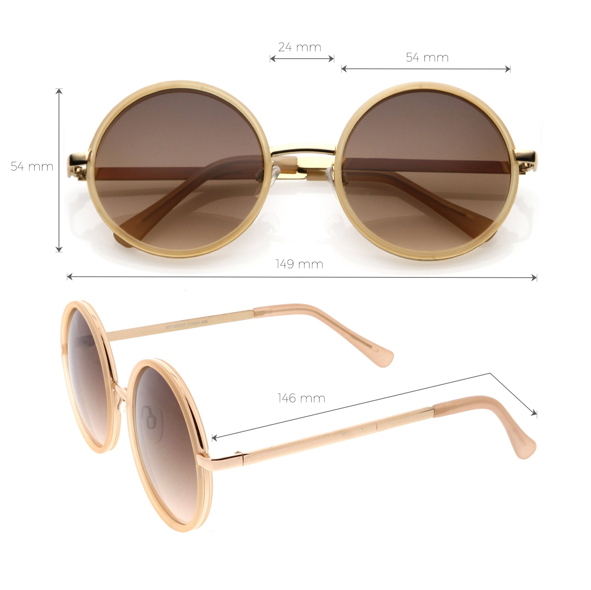 Glamorous Chic Oversized Round Sunglasses with Stylish Metal Arms