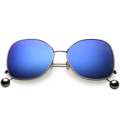 Women's Oversize Low Temple Mirrored Flat Lens Sunglasses C212