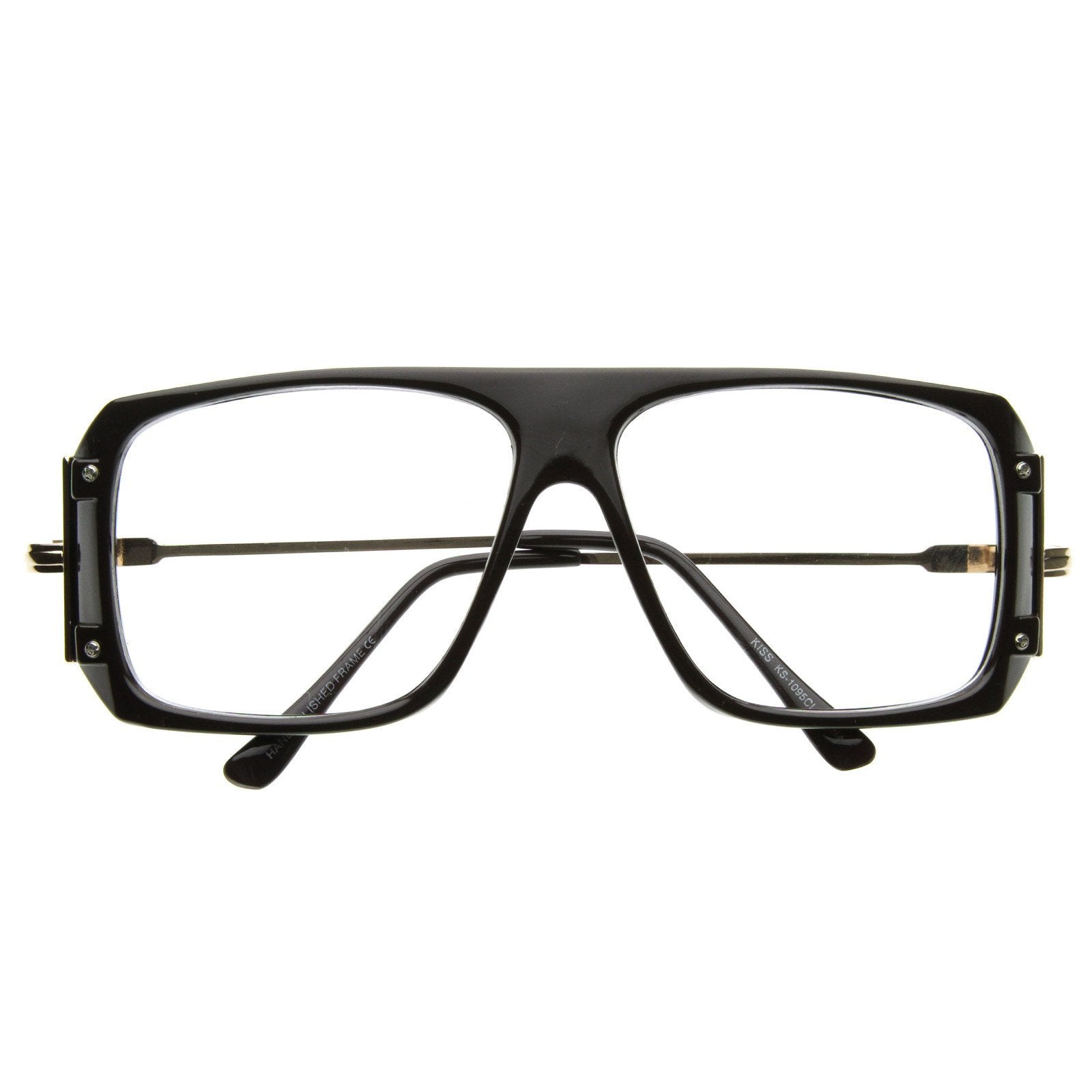 Matte Retro HIpster Clear Lens Square Sun Glasses with Metal Accents