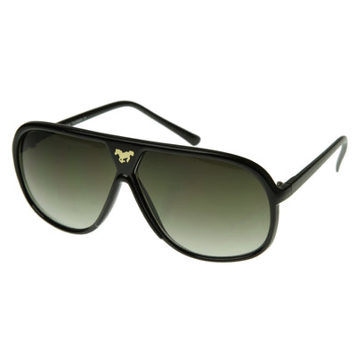 Retro Oversize Gold Horse Emblem Aviator Sunglasses 2867