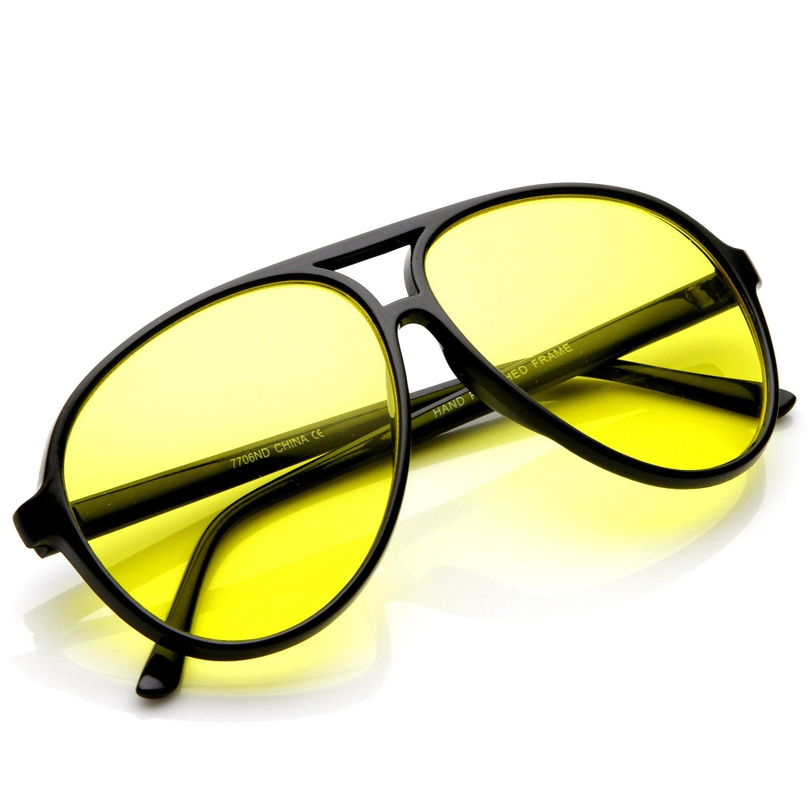 eb747f4c263 Retro 1980s Aviator Yellow Driving Lens Sunglasses - zeroUV