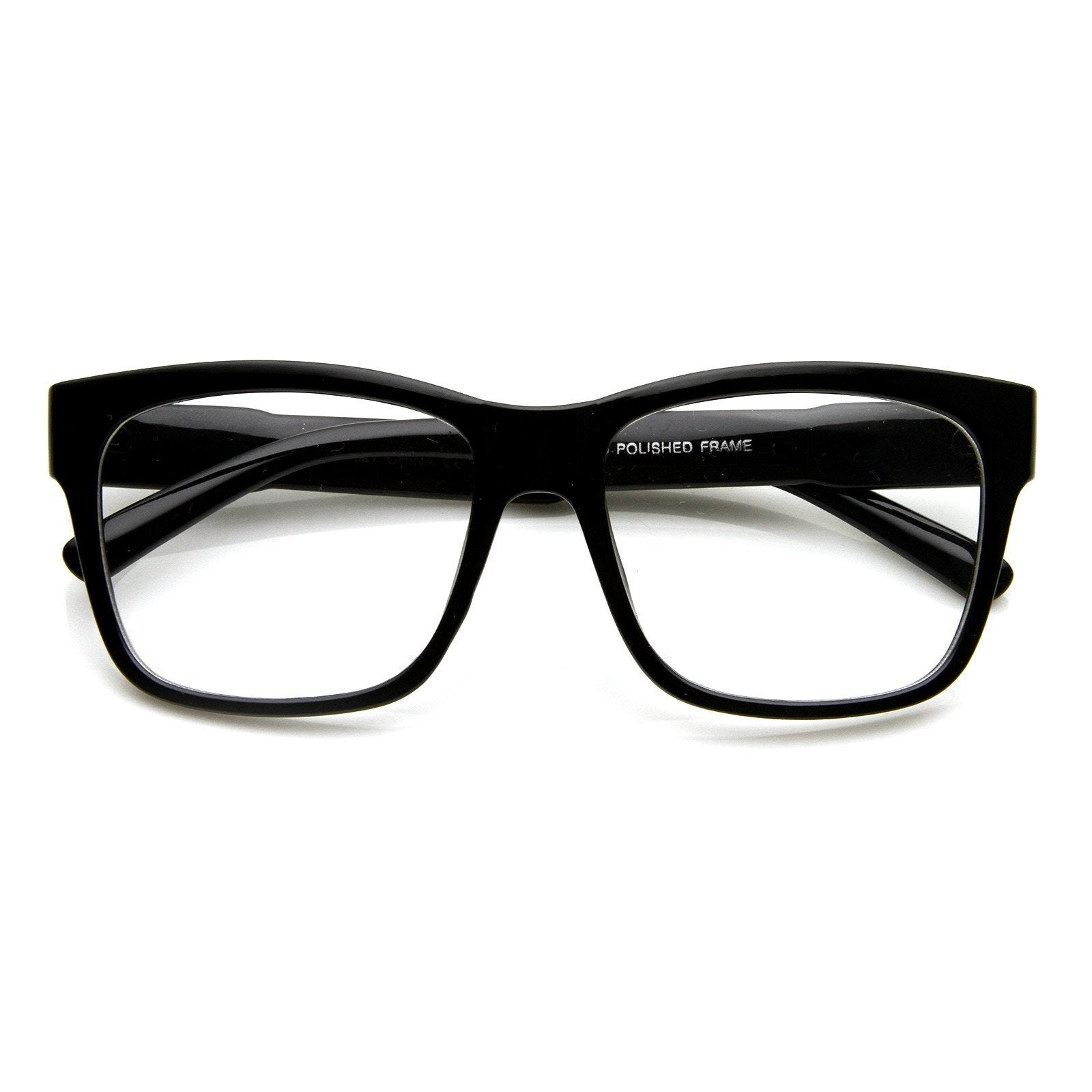 cba10ac69870 Shiny Black · Large Retro Clear Lens Nerd Hipster Horned Rim Glasses 8789
