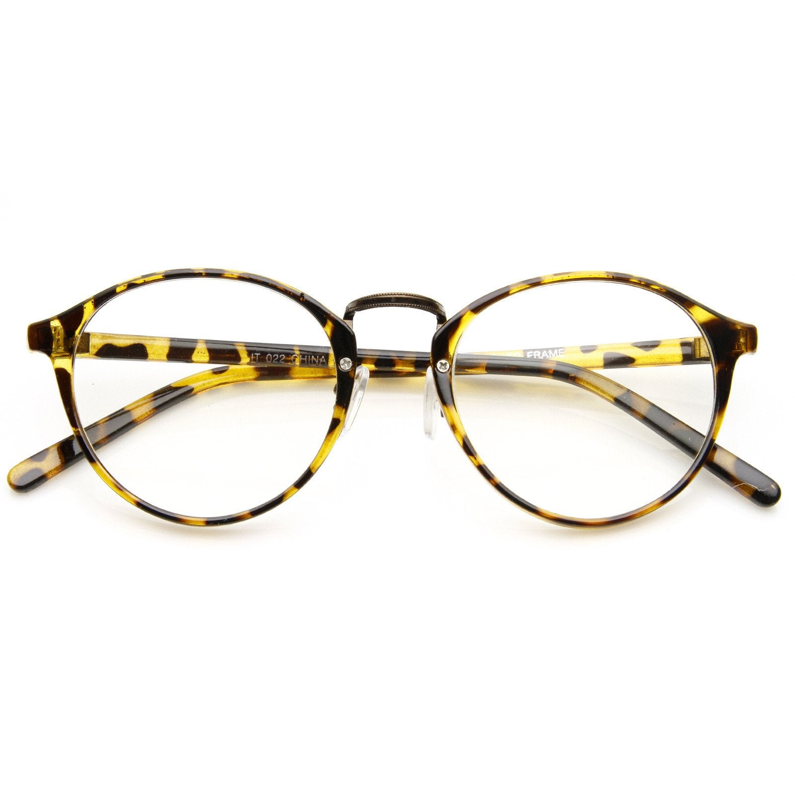 0905948be0 ... Vintage Dapper Indie Fashion Clear Lens Round Glasses 8768 · Tortoise