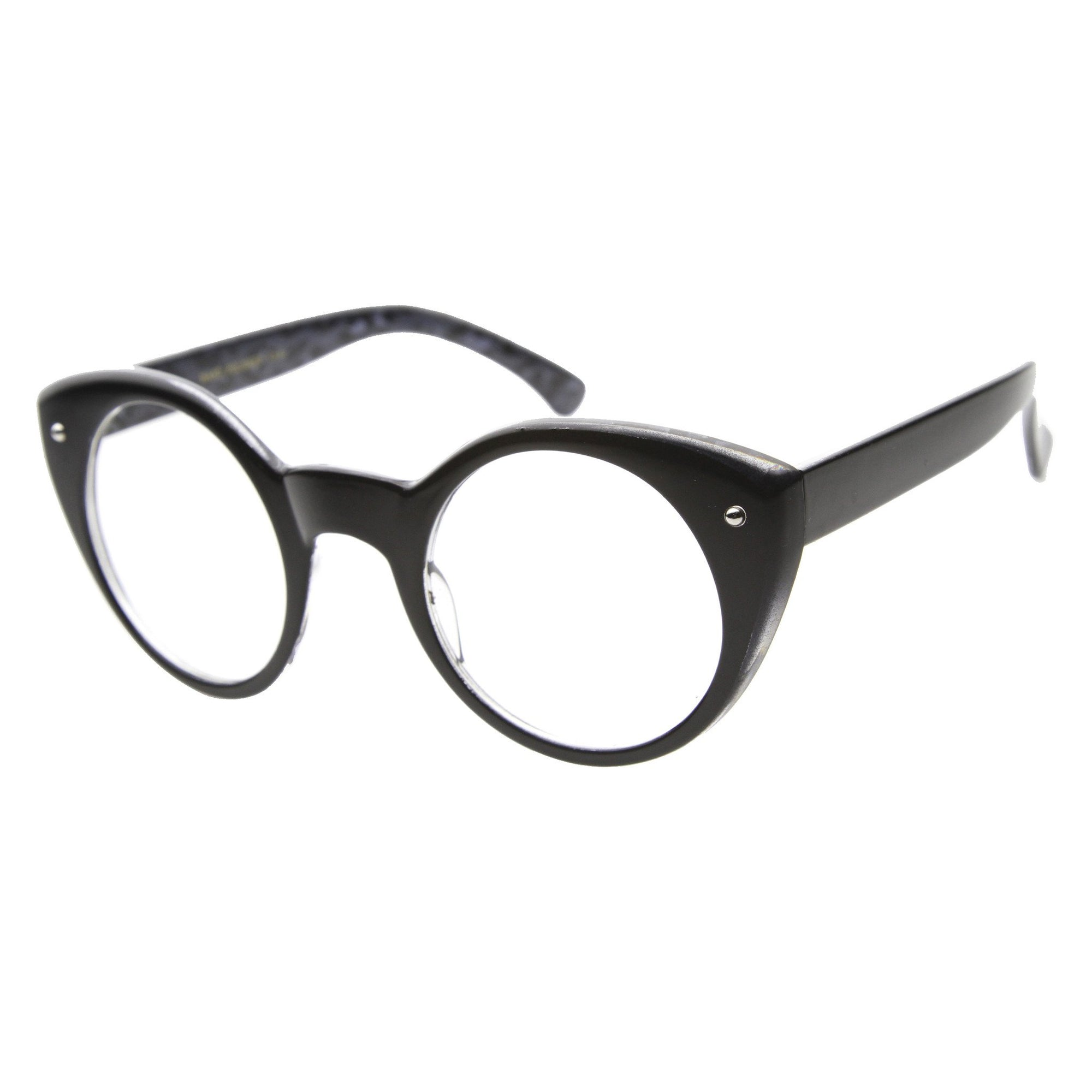 b51c2d2353ff ... Round Cat Eye Clear Lens Glasses 9647 · Black Cheetah Clear · Black Cheetah  Clear