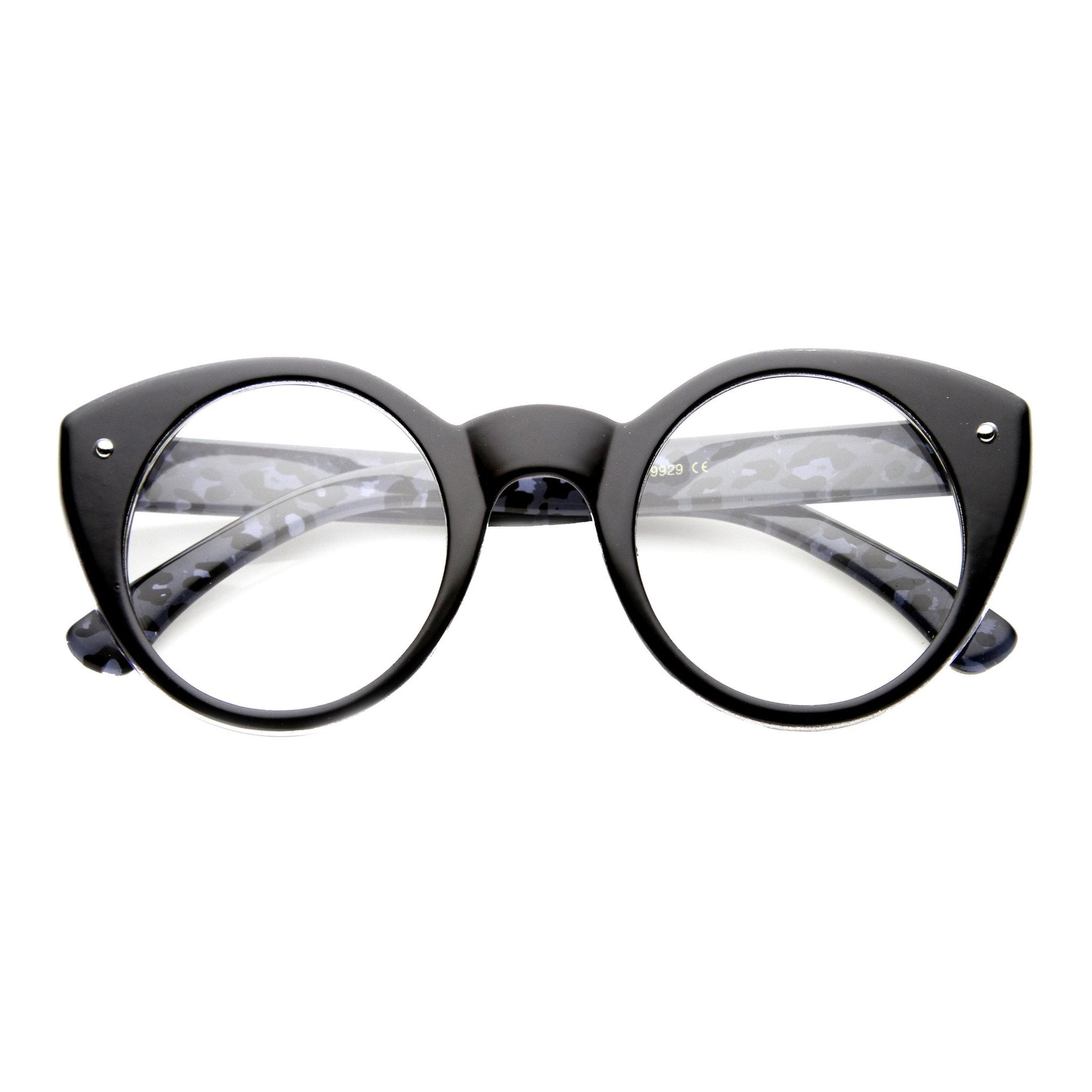 bdf92087a65c Cute Retro Animal Print Round Cat Eye Clear Lens Glasses 9647 - zeroUV