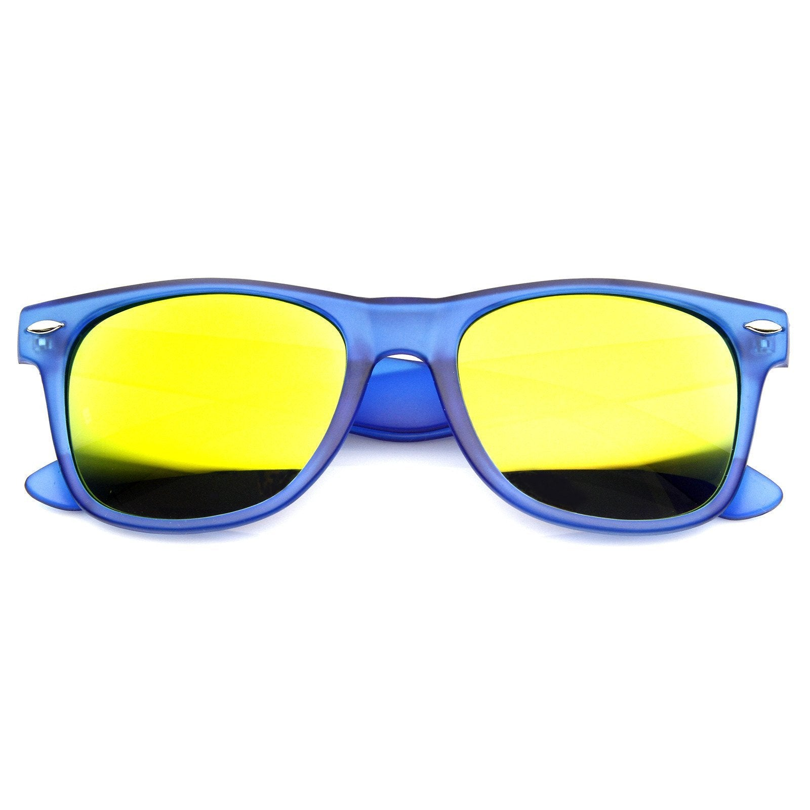 Super Bright Color Mirrored Lens Horned Rim Sunglasses 8128
