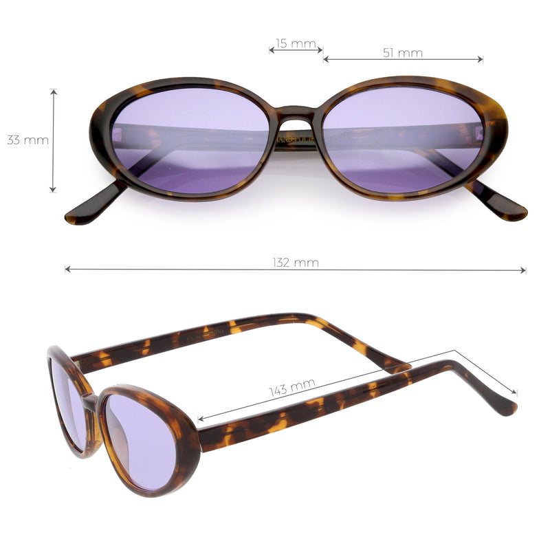 Women's True Vintage Color Tone Lens Oval Sunglasses C697