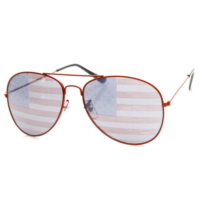 Party Independence Day USA Flag Aviator Sunglasses 8954