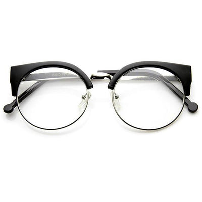 e05b33396e Indie Hipster Round Cat Eye Clear Lens Half Frame Glasses 9351