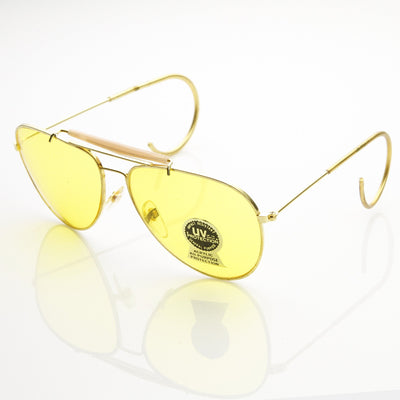 Vintage Aviator Sunglasses With Yellow Driving Lens 7206
