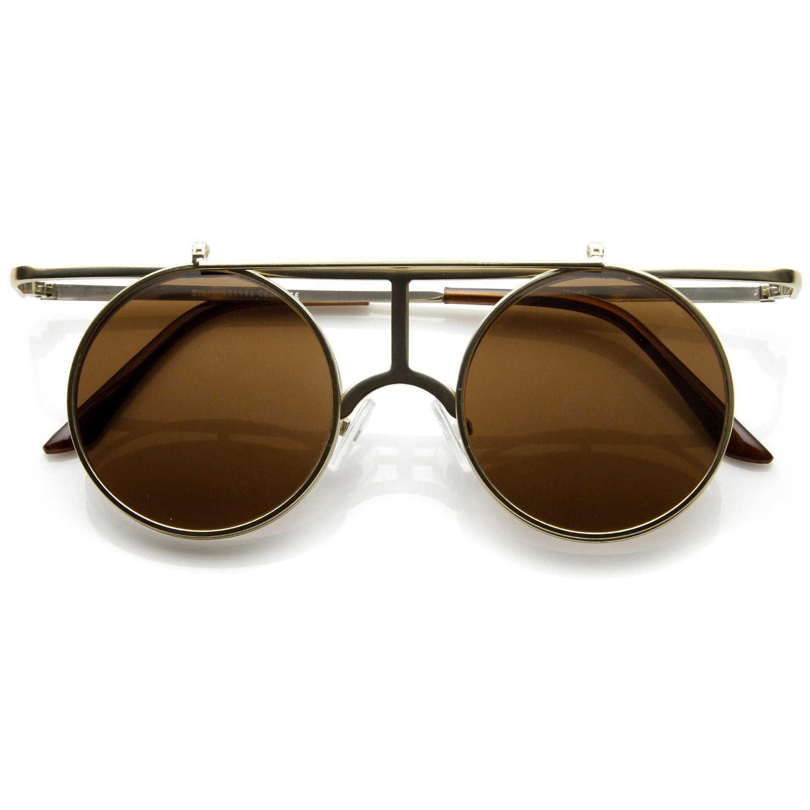 fd8eb8bf433 Steampunk Vintage Inspired Crossbar Flip Up Metal Sunglasses 8972