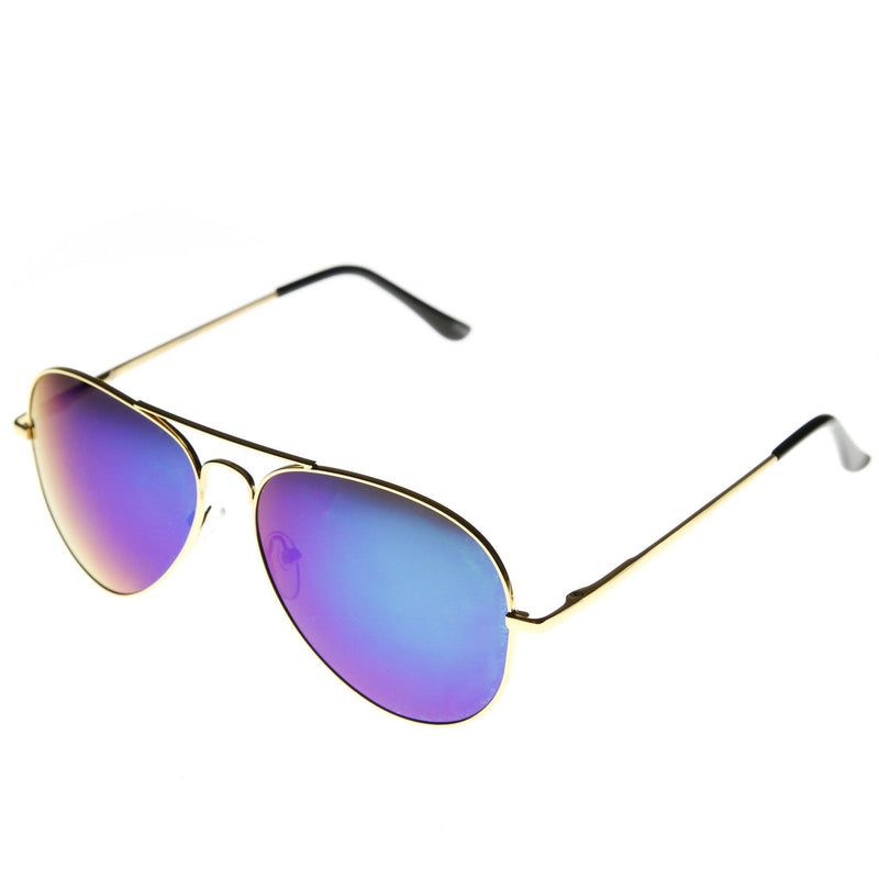 Zerouv Full Gold Frame Flash Color Mirrored Lens Sunglasses 1486