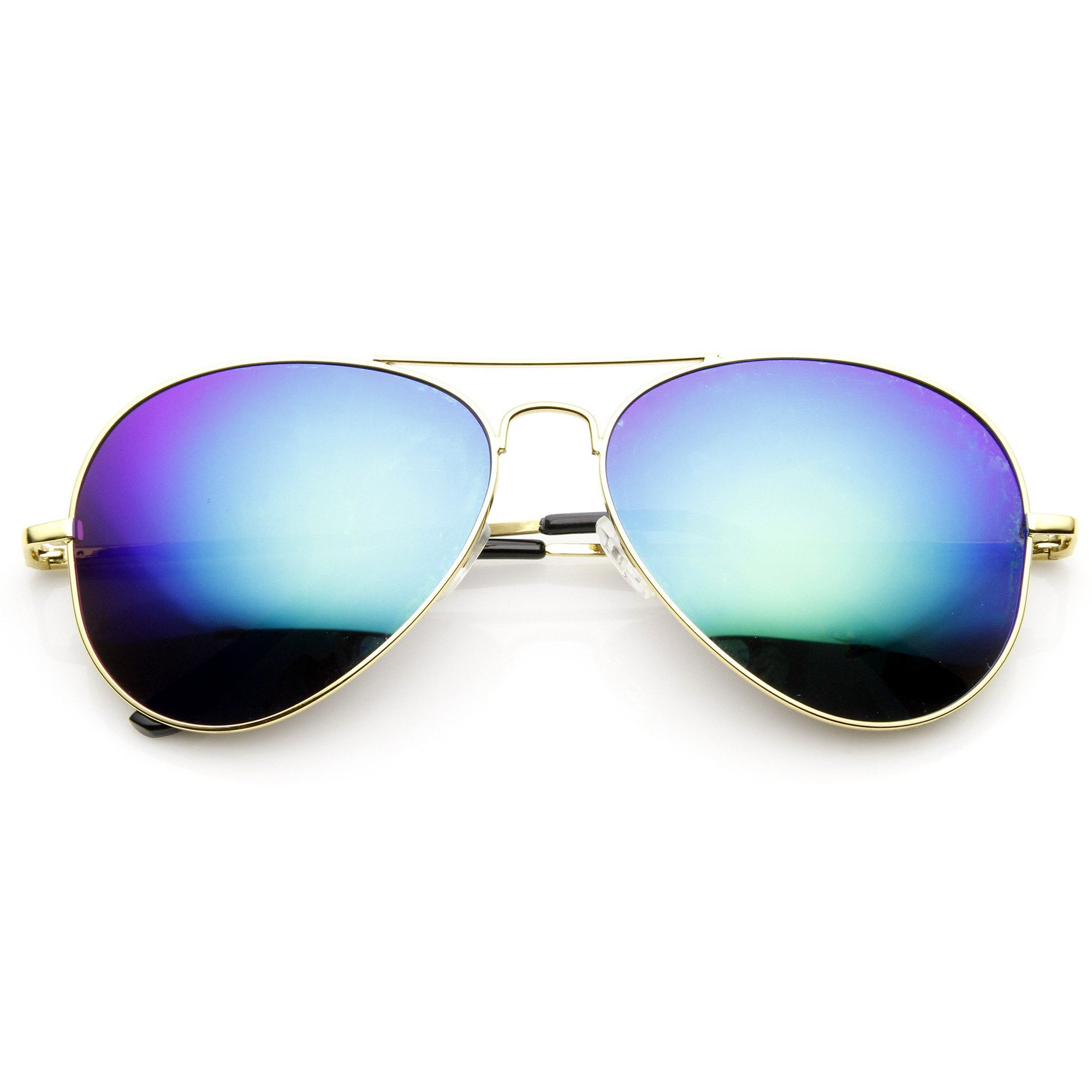 657f72d2ac2 Zerouv Full Gold Frame Flash Color Mirrored Lens Sunglasses 1486