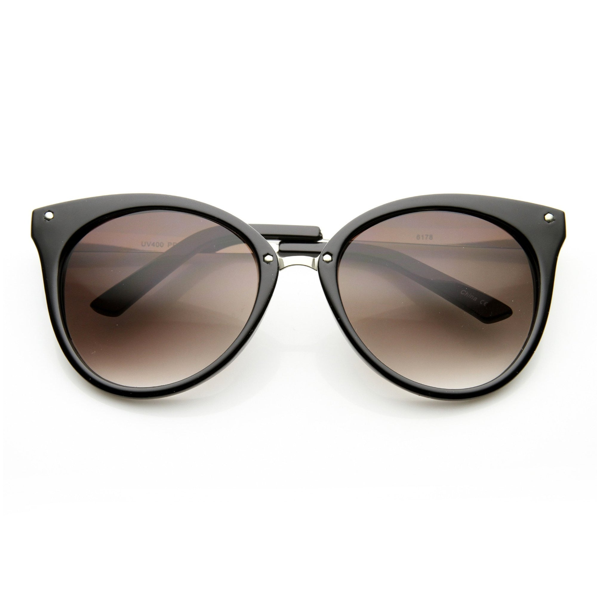 b846fe31f ... Oversize Womens Detailed Indie Cat Eye Sunglasses 9622 · Black Silver  Lavender