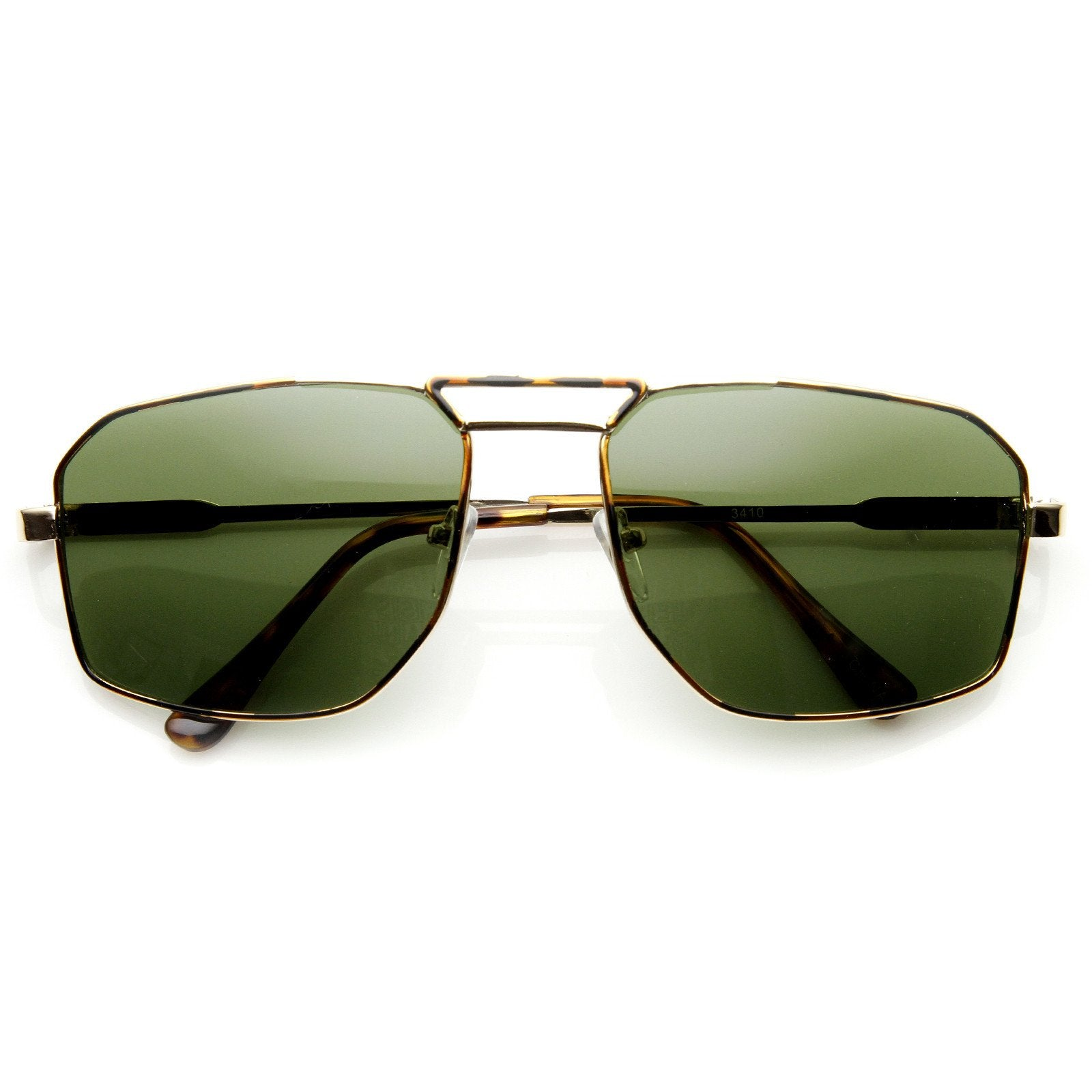 7eeeff6394540 ... Modern Mens Fashion GQ Square Metal Aviator Sunglasses 8989 · Gold  Tortoise Green