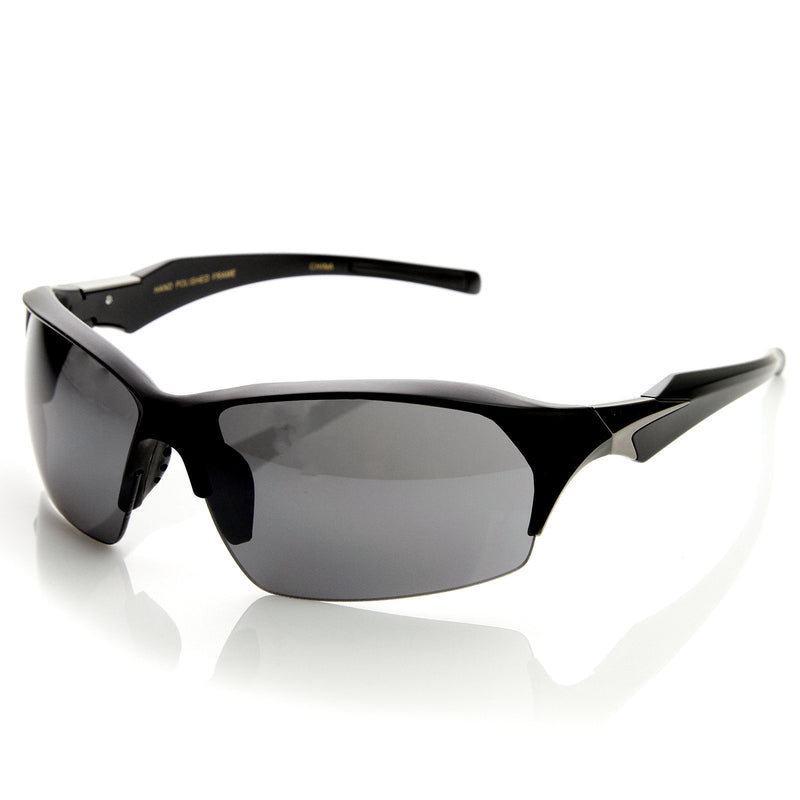 Premium TR-90 Half Frame Semi Rimless Action Sports Mens Sunglasses 9107