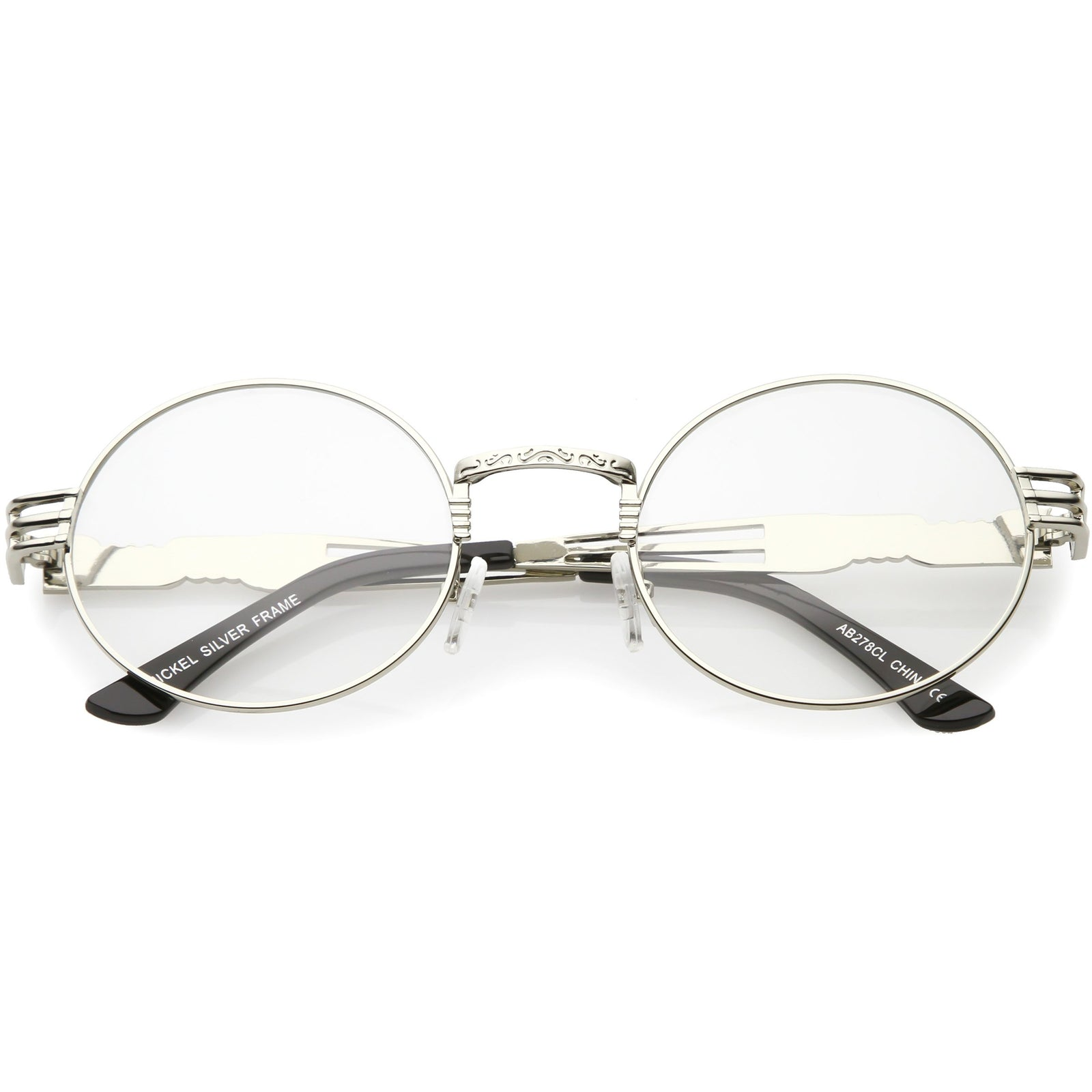 2fedb1950bc Retro Round Clear Lens Engraved Metal Steampunk Flat Lens Glasses C481
