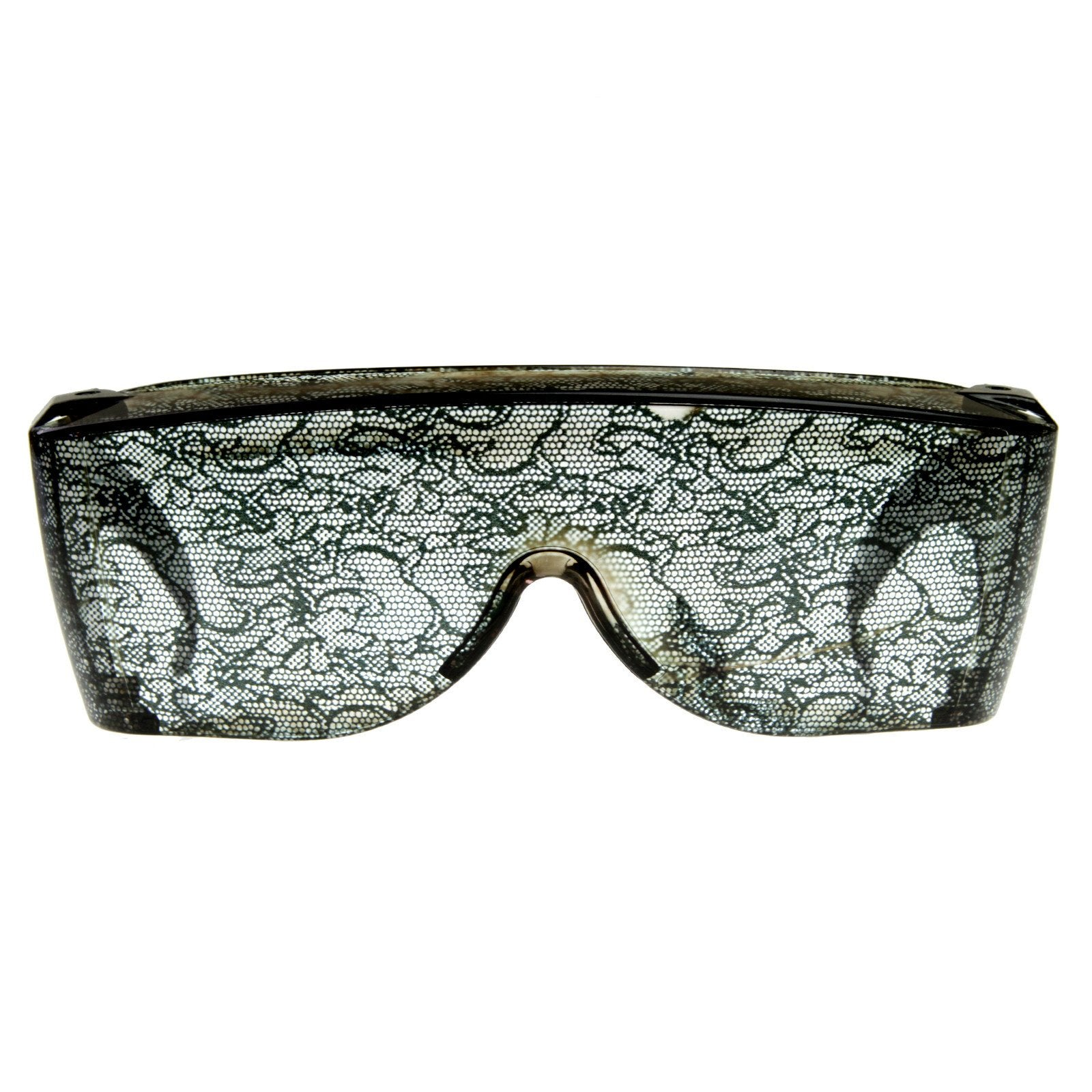 Womens Oversize Wrap Around Fashion Lace Sunglasses 8372