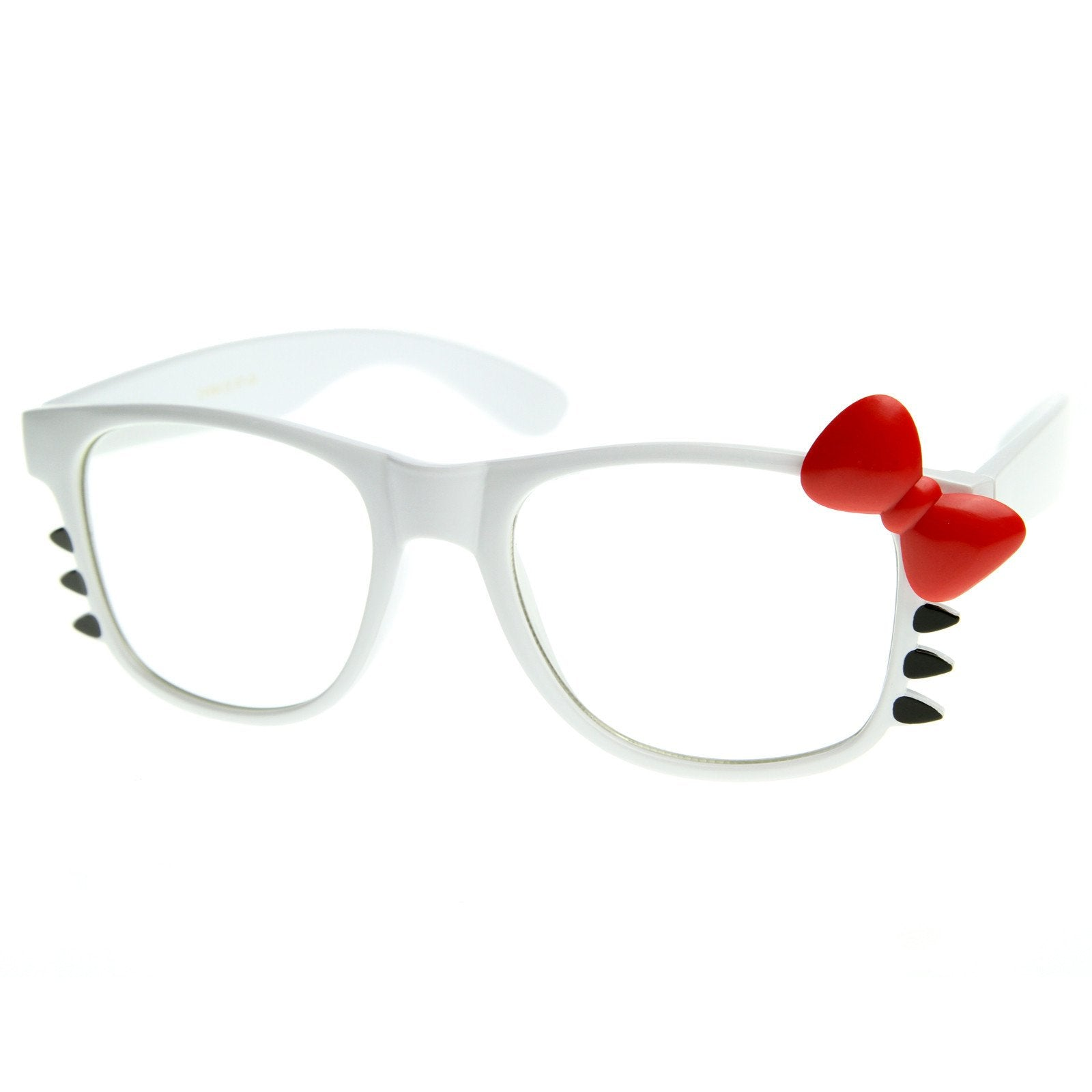 33774ec19 Cute Womens Hello Kitty Bow Clear Lens Glasses With Whiskers 8499