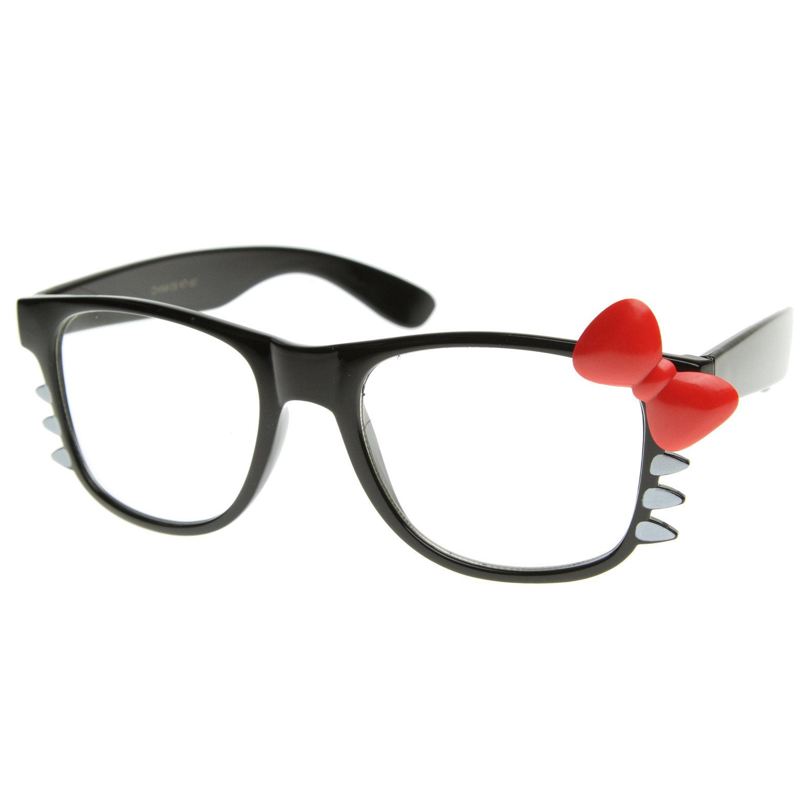 5e6a88158 Cute Womens Hello Kitty Bow Clear Lens Glasses With Whiskers 8499 · Black  Red Bow
