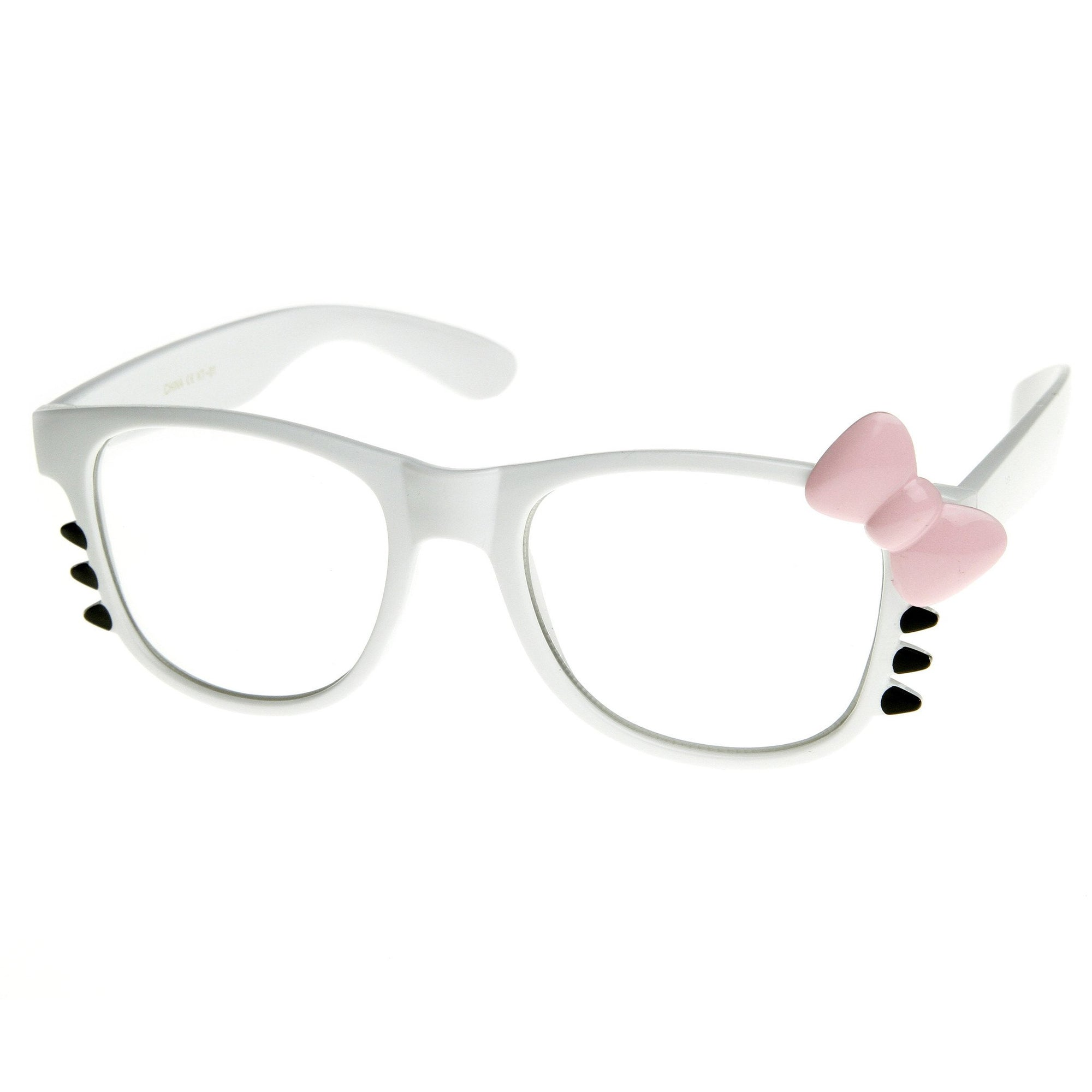ad358ec4c Cute Womens Hello Kitty Bow Clear Lens Glasses With Whiskers 8499 · Black  Red Bow · Black Pink Bow · White Pink Bow