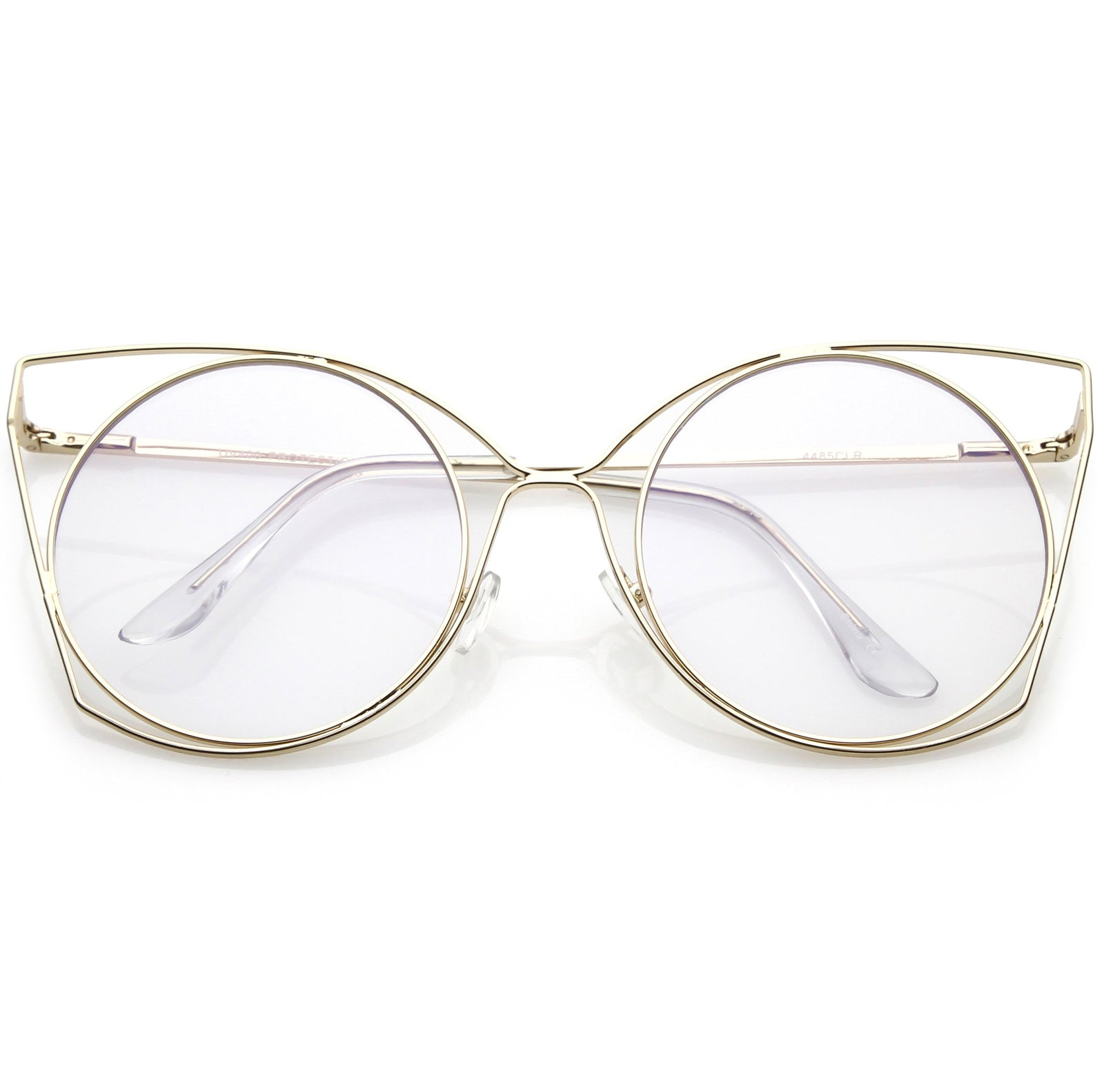 34d10fd558b4 Women s Oversize Laser Cut Round Flat Clear Lens Cat Eye Glasses C347