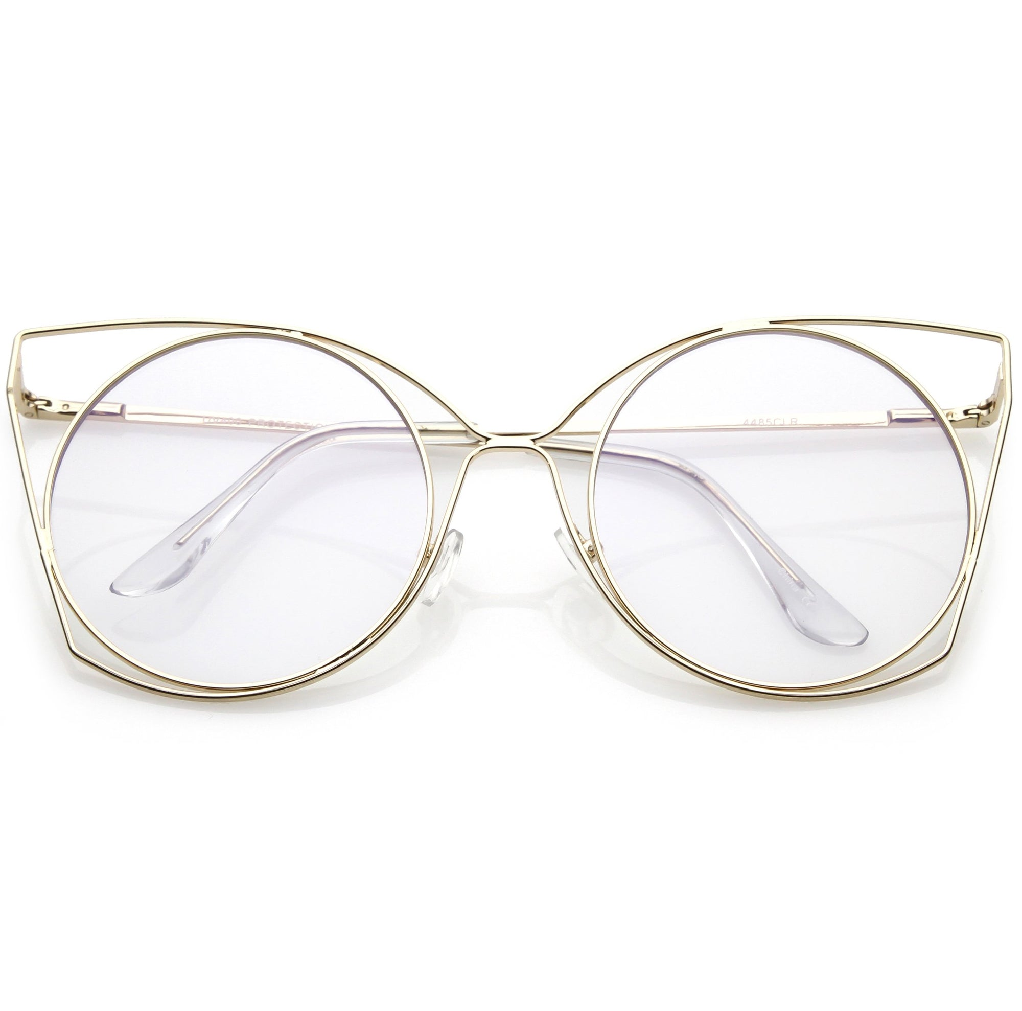 8452d9ca959 ... Oversize Laser Cut Round Flat Clear Lens Cat Eye Glasses C347 · Gold  Clear