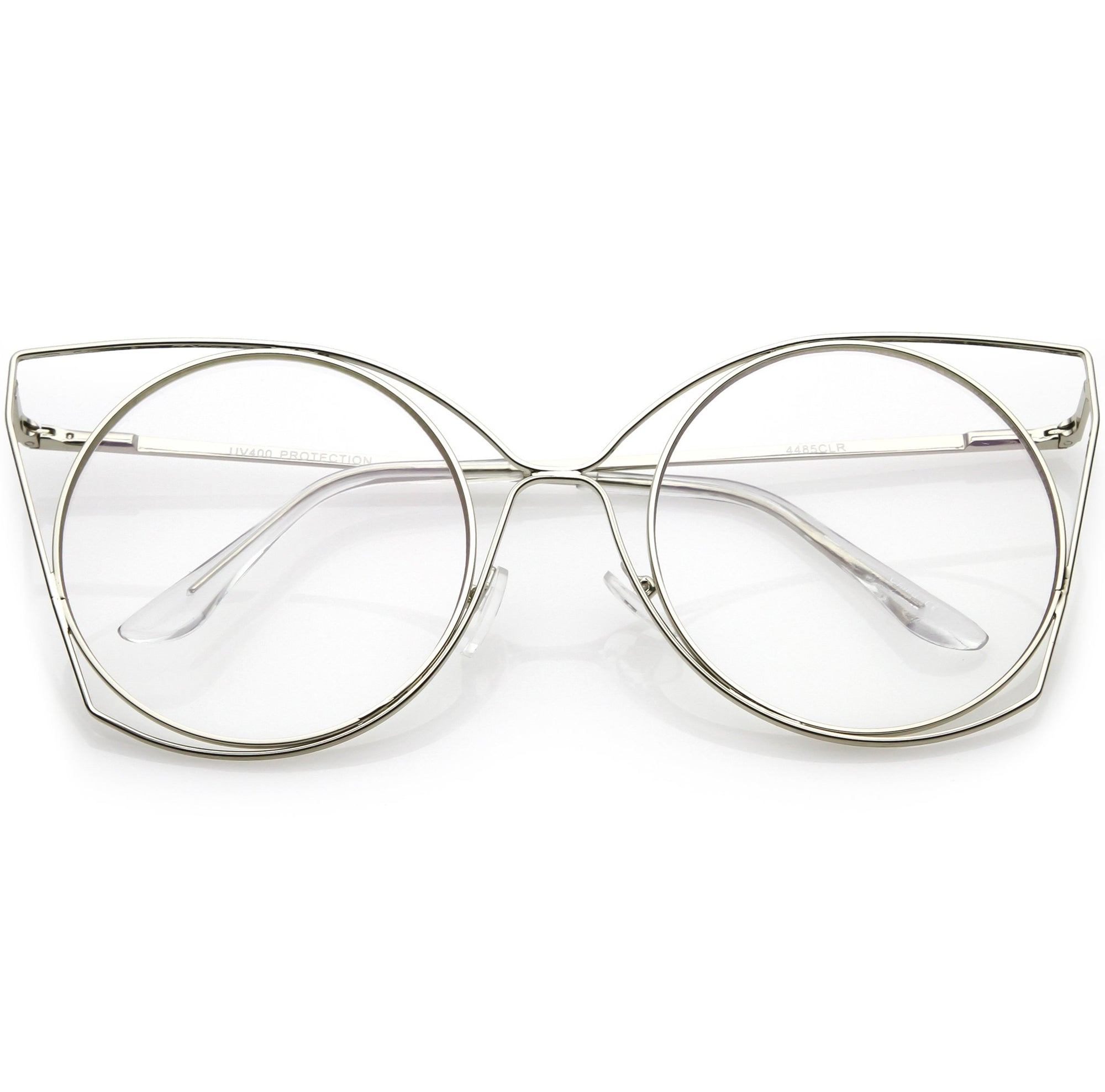 d51316fef53cd ... Oversize Laser Cut Round Flat Clear Lens Cat Eye Glasses C347 · Gold  Clear · Silver Clear