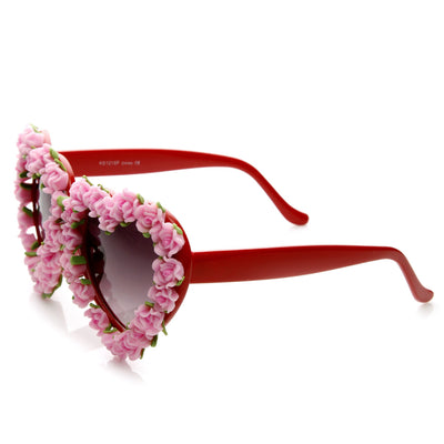 Womens Heart Shaped Flower Adorned Oversize Sunglasses 9197