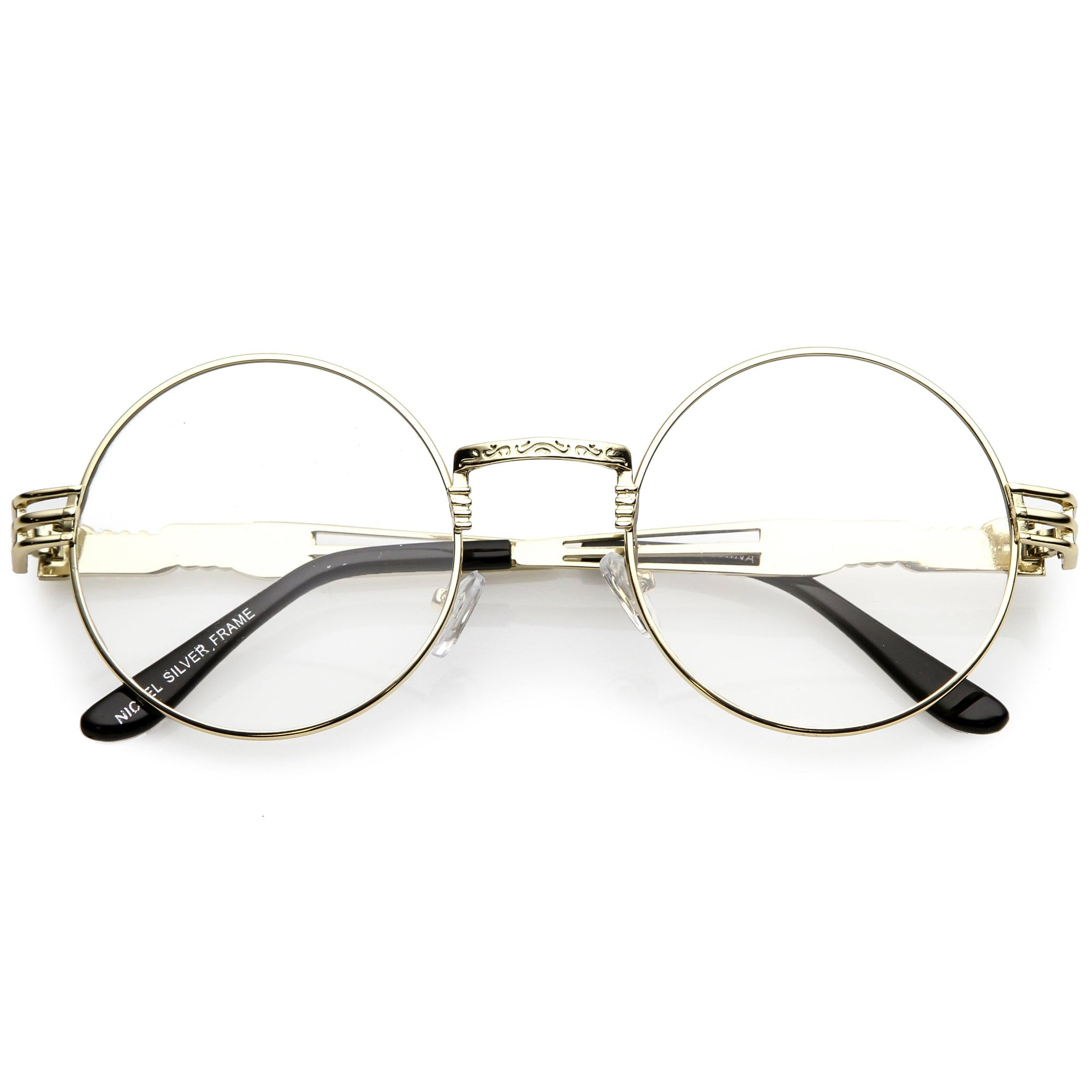 cc1a426f39 Retro Dapper Round Metal Clear Lens Glasses C300