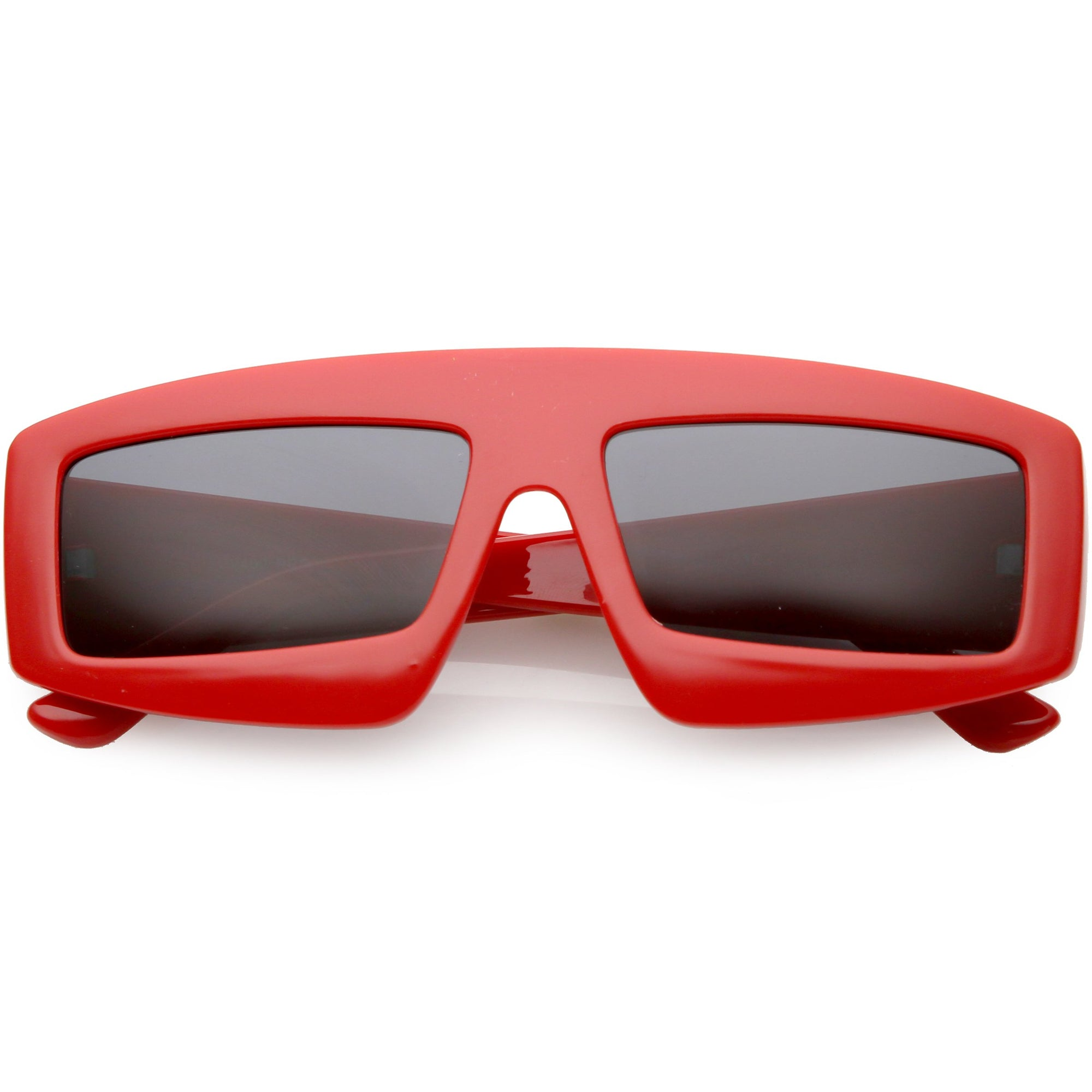 0ae8d4743b2 Futuristic Retro Rectangle Block Flat Lens Sunglasses C752