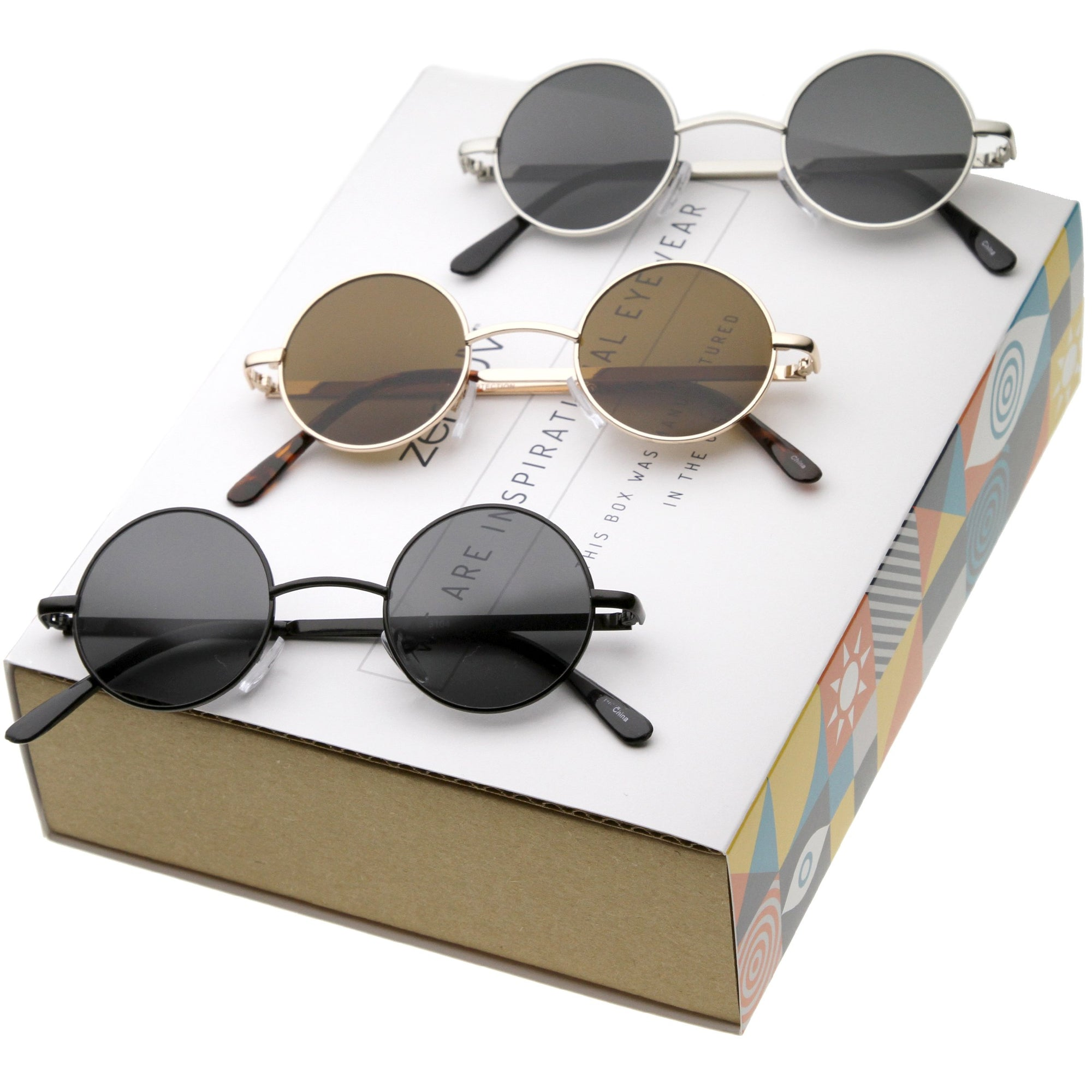 1405f0cd1fe51 Retro 1970s Lennon Round Sunglasses 3 Pack - zeroUV