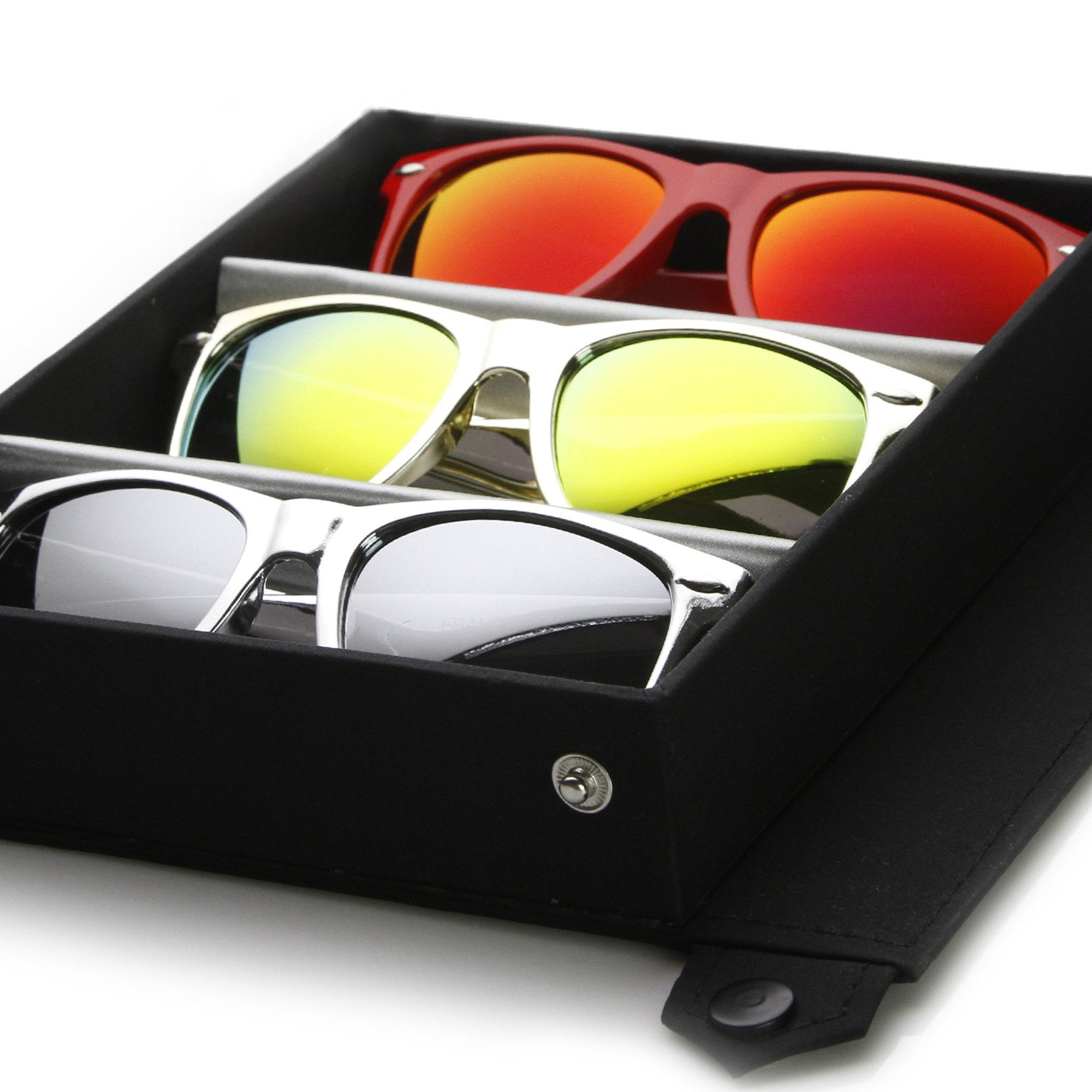 Limited Edition Flash Mirror Lens Horned Rim Sunglasses + Travel Case 8126