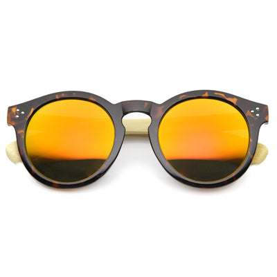 6d82212a32 Eco Friendly Bamboo Wood Temple Round Sunglasses - zeroUV